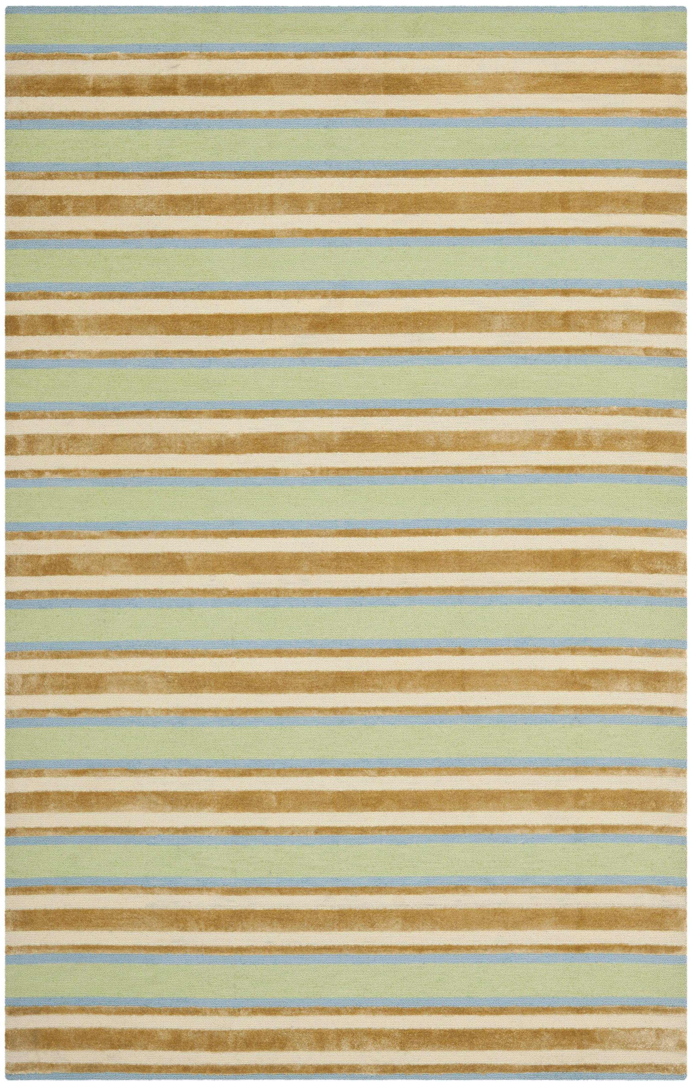 Orange / Green Striped Rug Rug Size: Runner 2'3