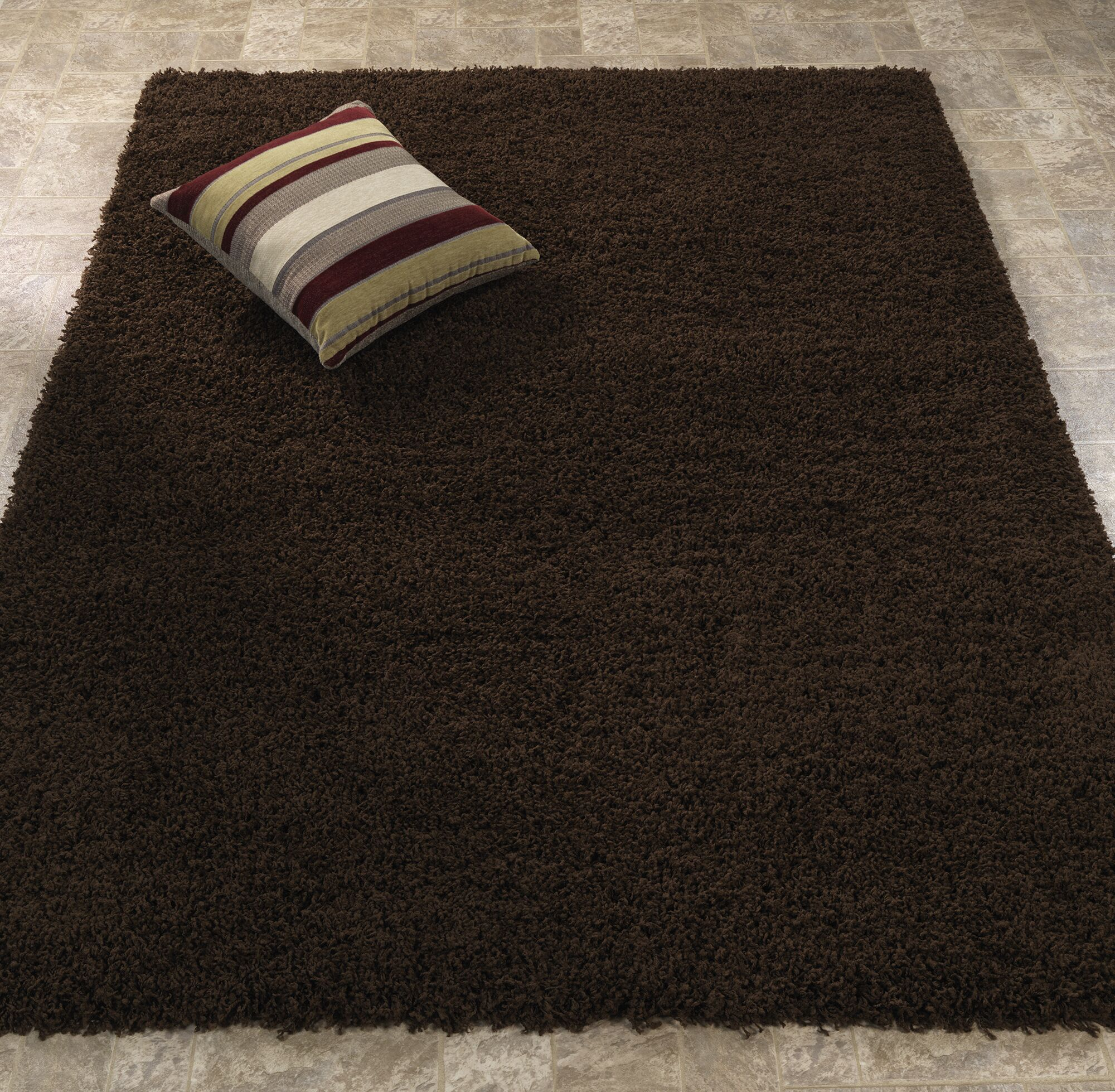 Shiiba Dark Brown Solid Area Rug Rug Size: Rectangle 5'3
