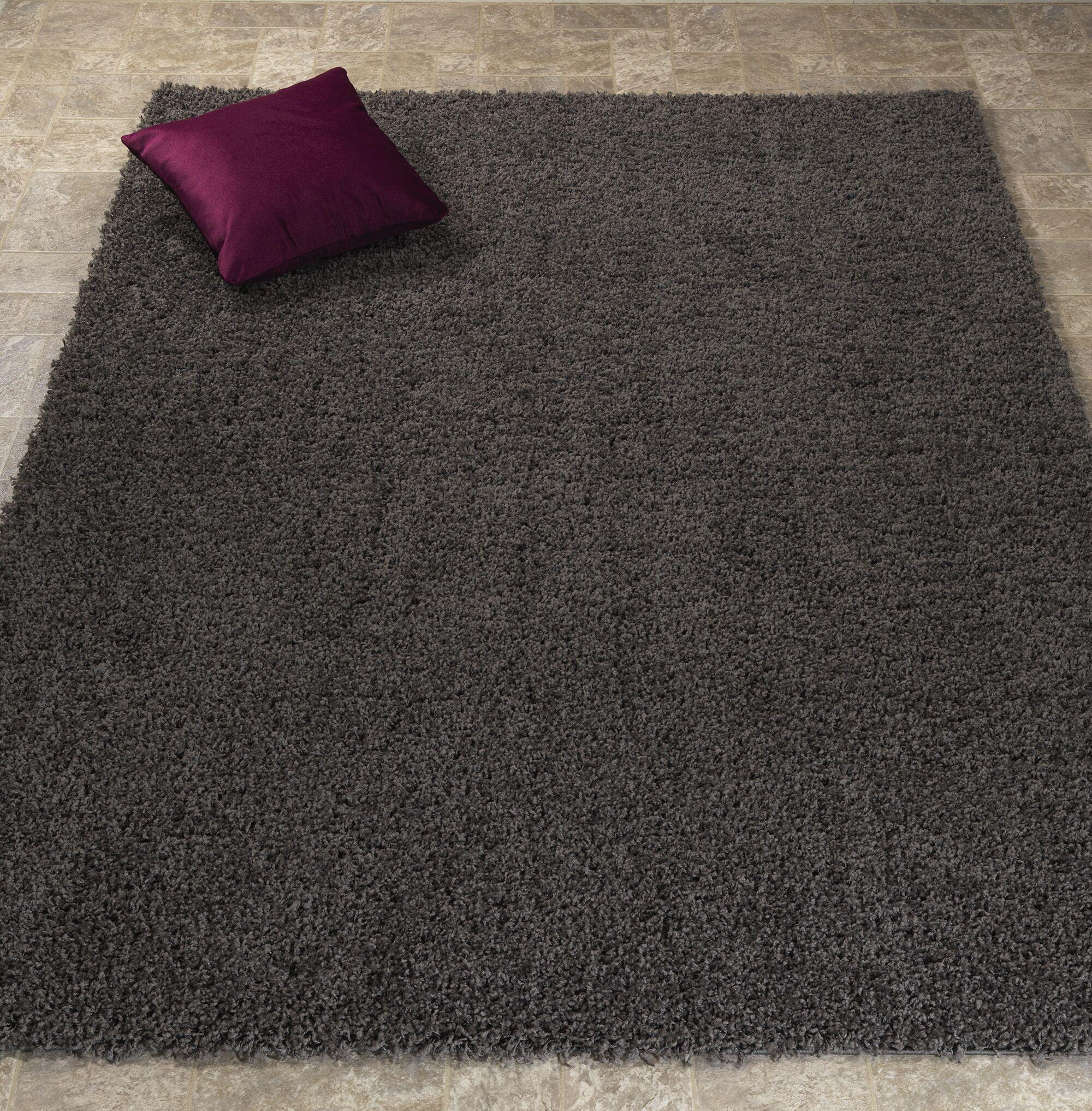 Shiiba Soft Solid Plush Shag Dark Gray Area Rug Rug Size: Rectangle 7'10