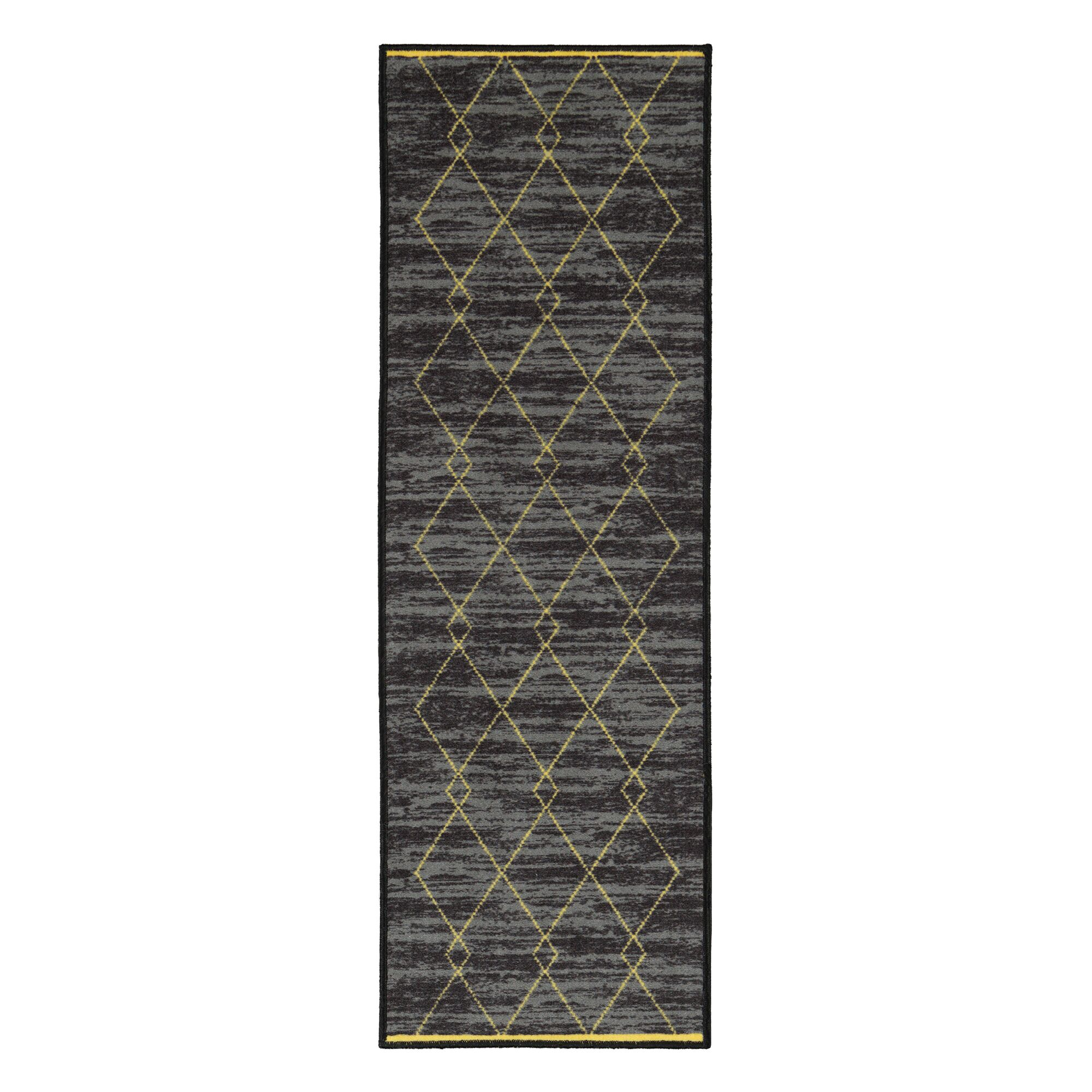Vathylakas Diamond Trellis Black/Yellow Area Rugs Rug Size: 8'2