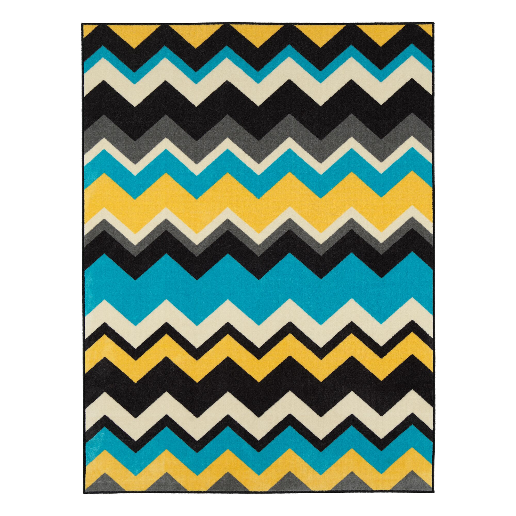 Barry Chevron Waves Blue/Yellow Area Rug Rug Size: 3'3