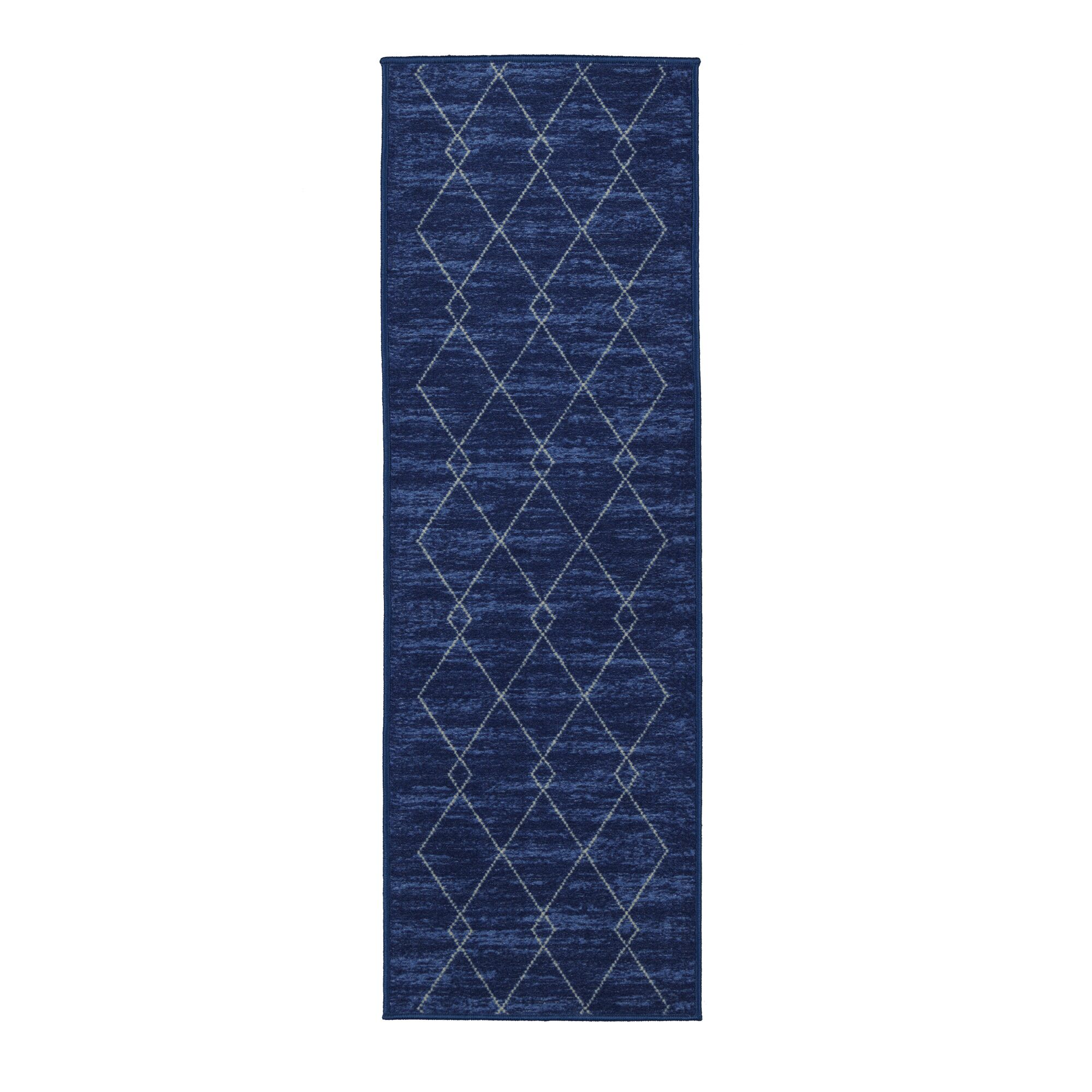 Vathylakas Diamond Trellis Blue Area Rug Rug Size: 8'2