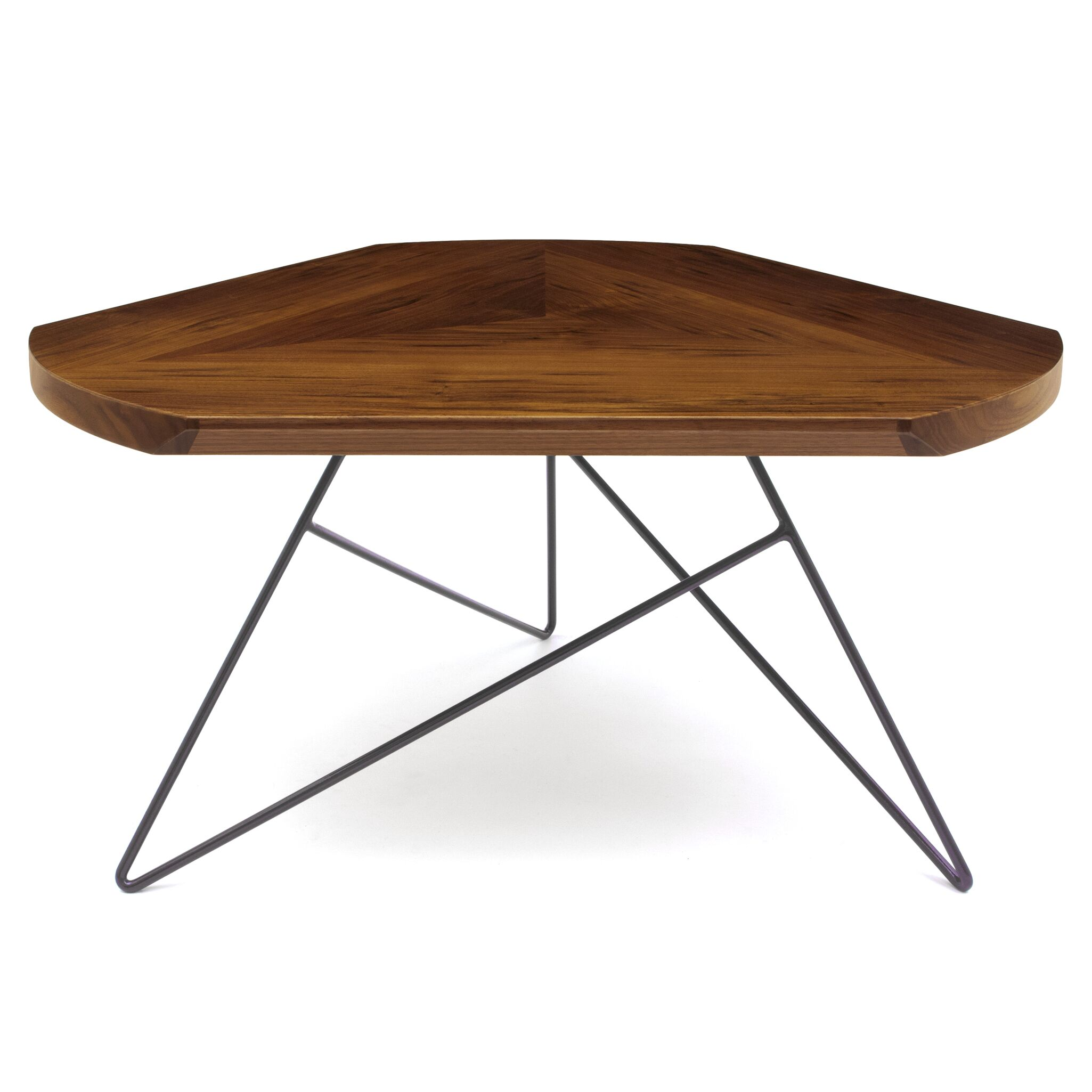 Deriving its geometric beauty from acute angles, the Acute Coffee Table features a thick veneer and solid walnut banding crafted into a contemporary pattern while the 3 metal legs provide a reliable, and eye-catching base. Features: -Product Type: Cof...