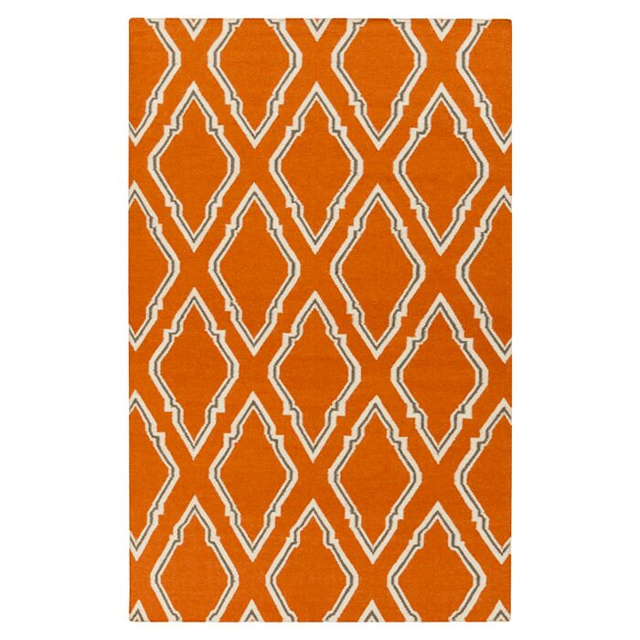 Fallon Papyrus Hand Woven Wool Burnt Orange Area Rug Rug Size: Rectangle 3'6