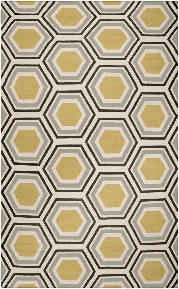 Fallon Hand Woven Wool Beige/Yellow/Black Area Rug Rug Size: Rectangle 3'6