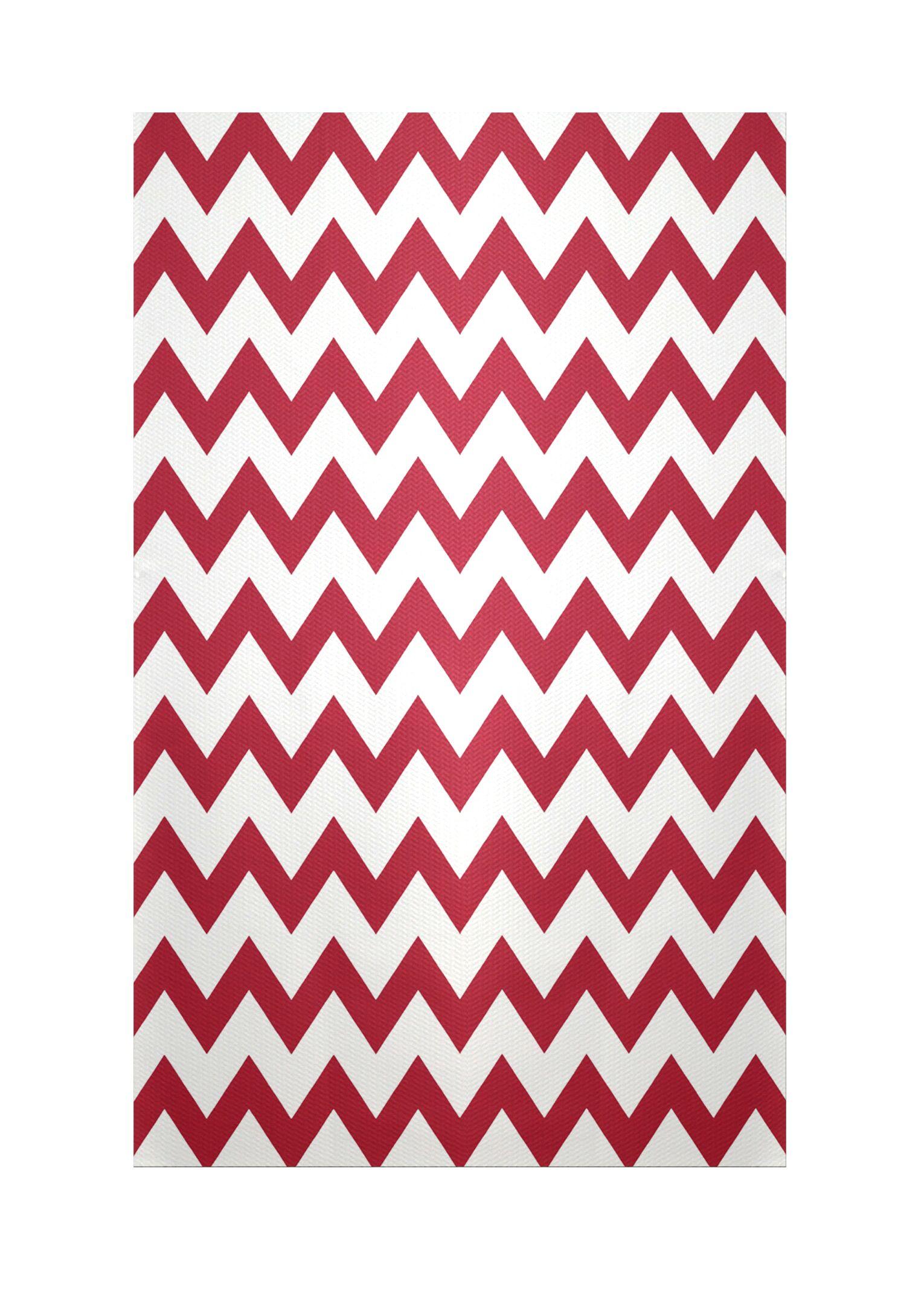 Chevron Red Indoor/Outdoor Area Rug Rug Size: Rectangle 3' x 5'