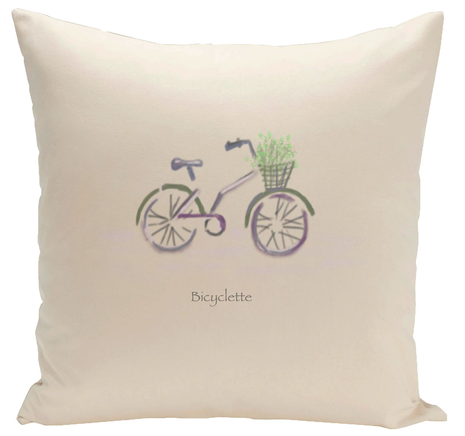Decorative Bicyclette Throw Pillow Size: 18