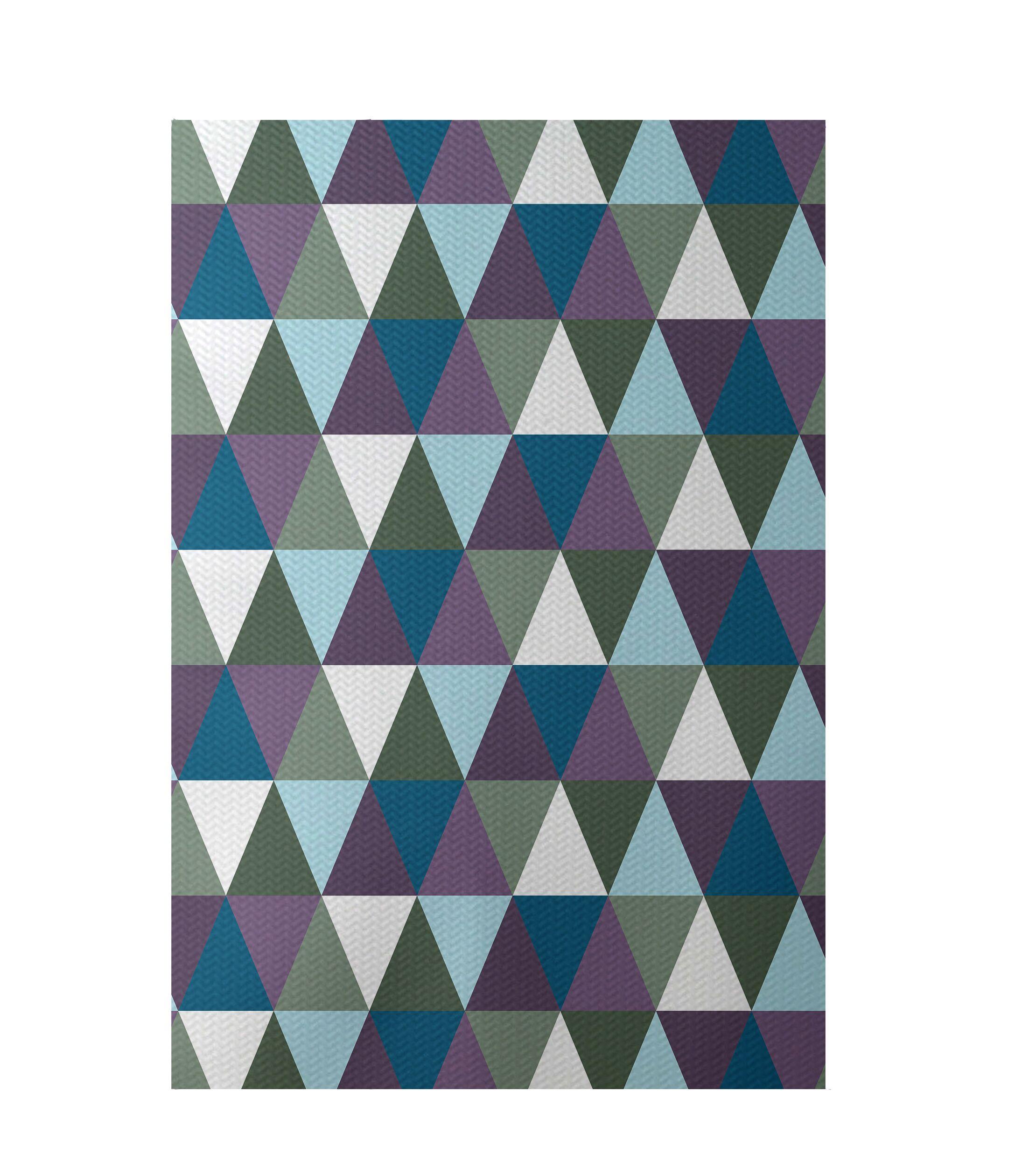 Geometric Blue Indoor/Outdoor Area Rug Rug Size: Rectangle 2' x 3'