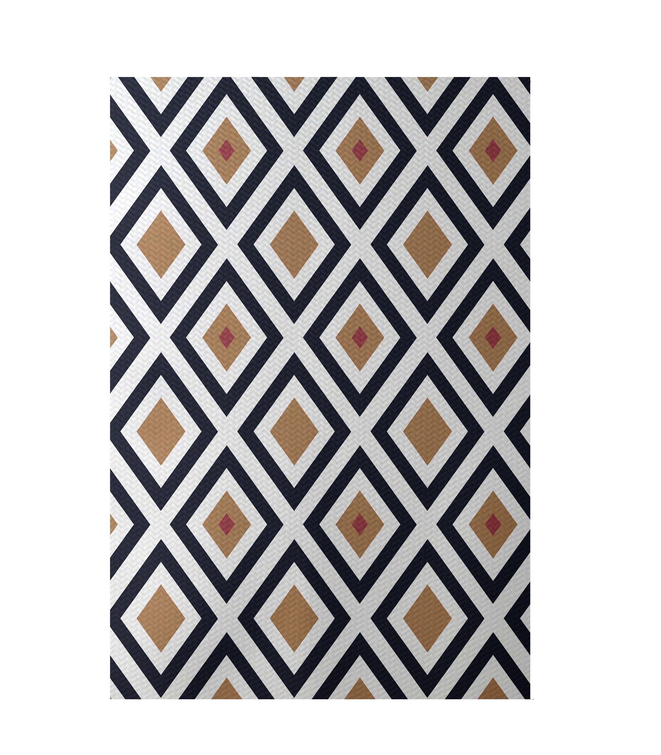 Geometric Brown Indoor/Outdoor Area Rug Rug Size: Rectangle 5' x 7'