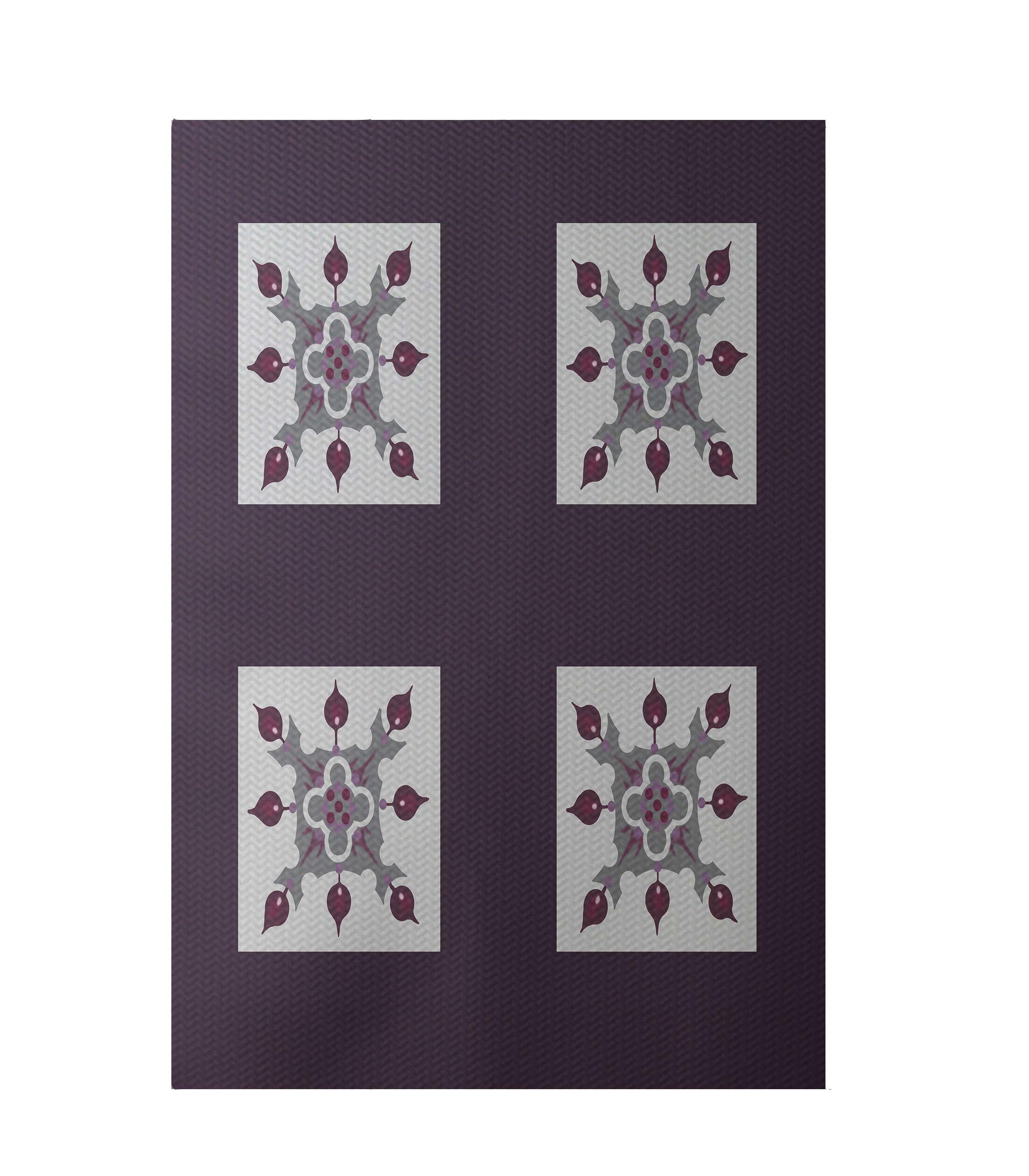 Geometric Purple Indoor/Outdoor Area Rug Rug Size: Rectangle 3' x 5'