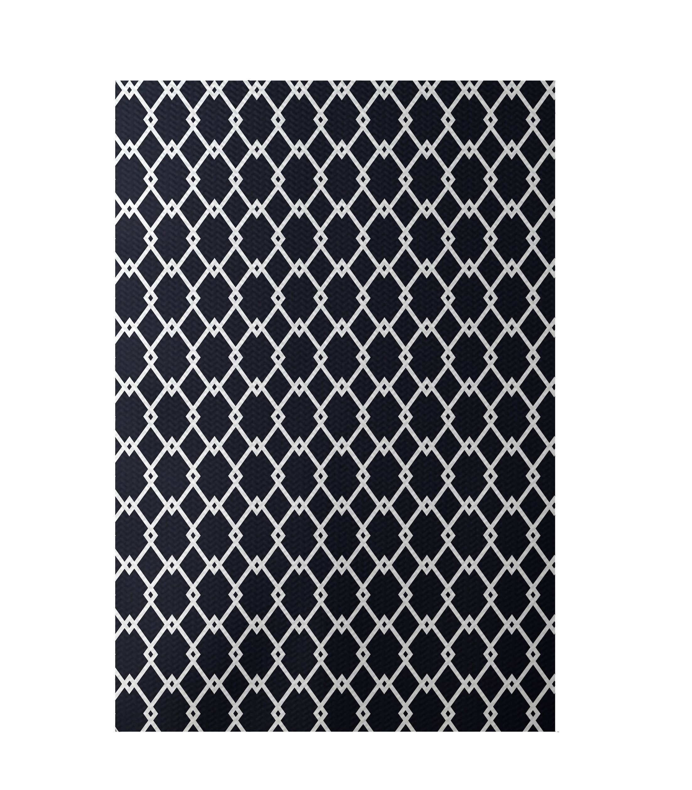 Geometric Hand-Woven Navy Blue Indoor/Outdoor Area Rug Rug Size: Rectangle 3' x 5'
