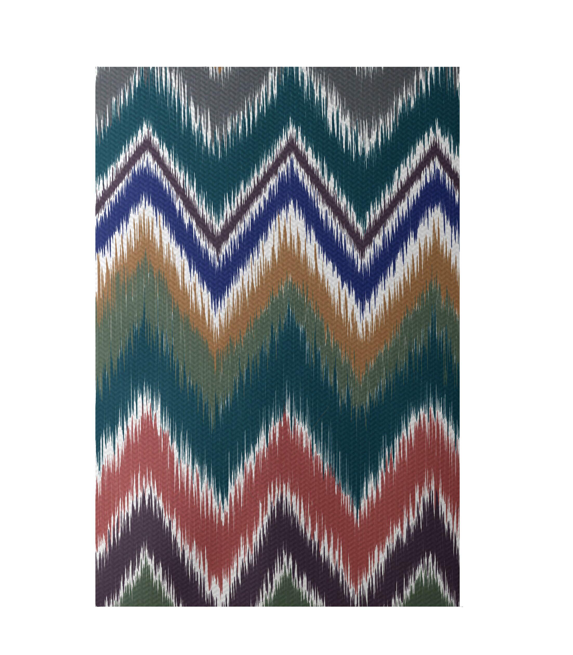 Chevron Teal Indoor/Outdoor Area Rug Rug Size: Rectangle 3' x 5'