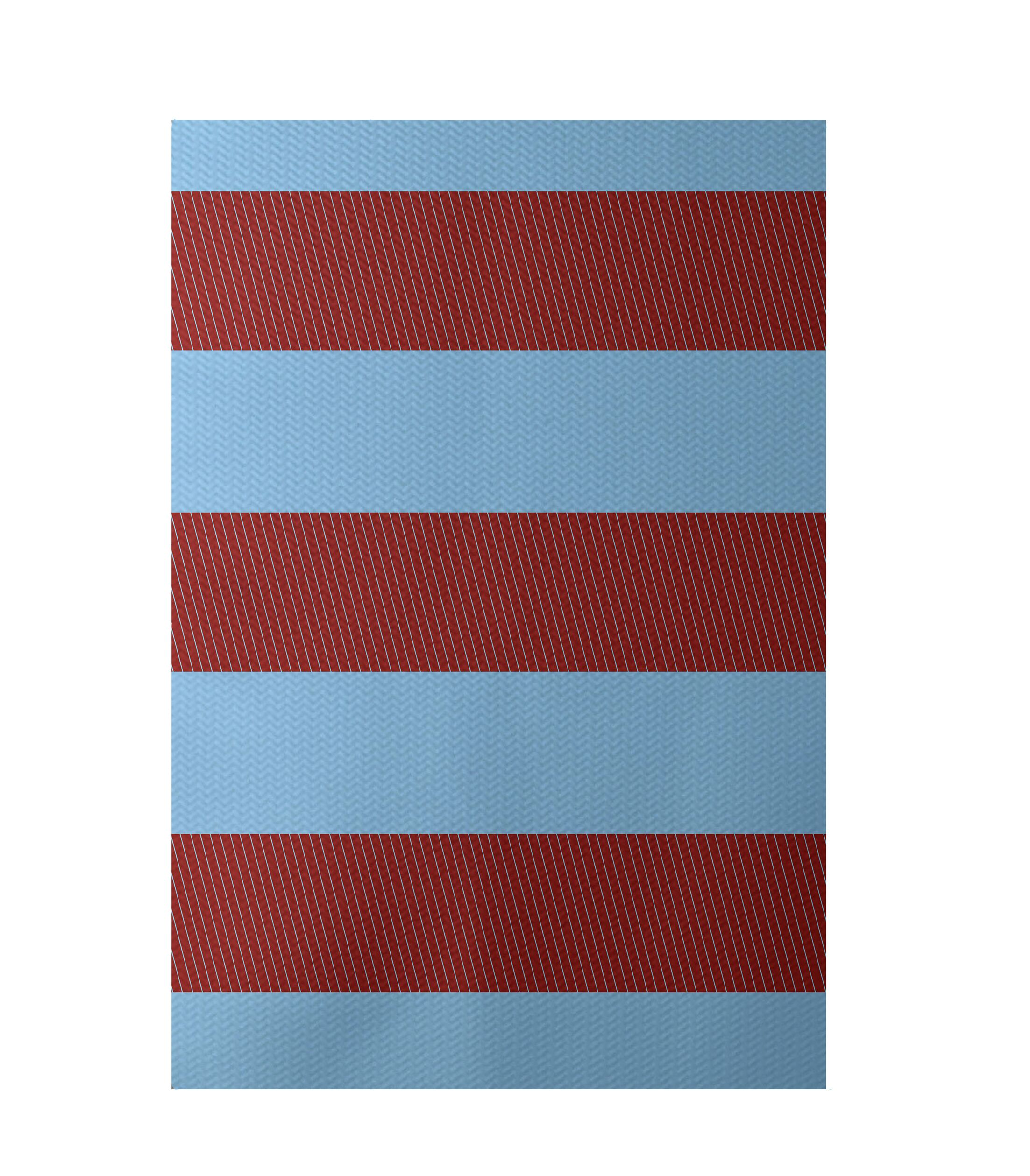 Stripe Red Indoor/Outdoor Area Rug Rug Size: Rectangle 3' x 5'