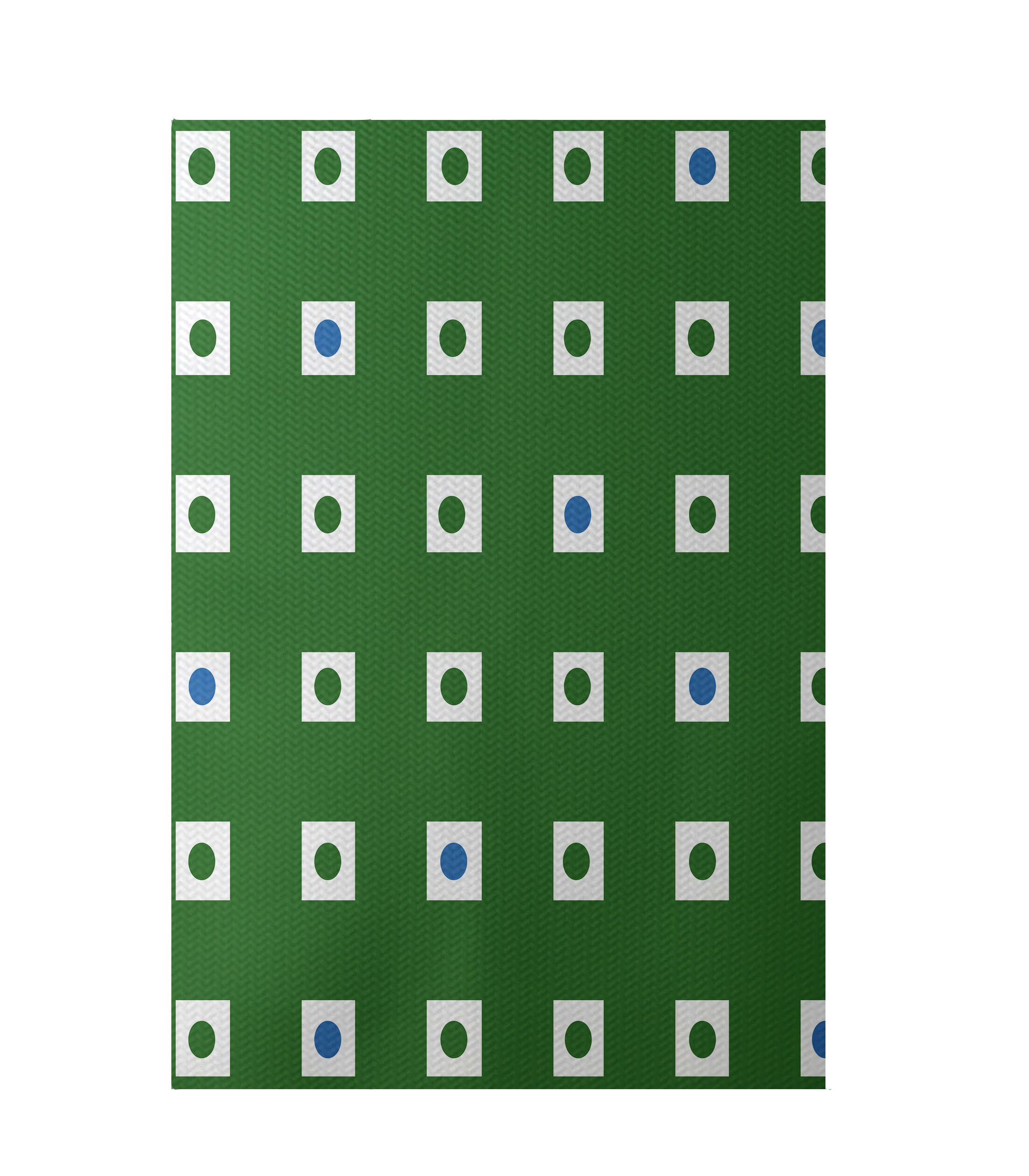 Geometric Hand-Woven Green/Blue Indoor/Outdoor Area Rug Rug Size: Rectangle 5' x 7'