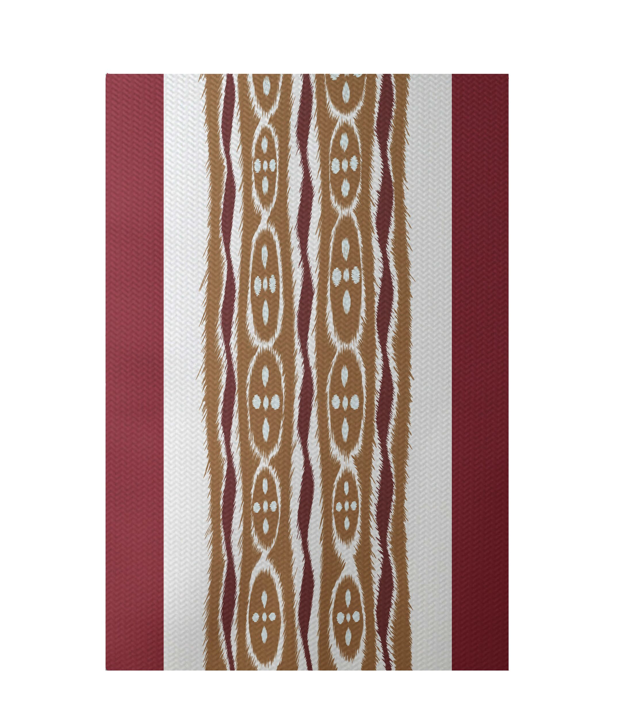Stripe Rust Indoor/Outdoor Area Rug Rug Size: Rectangle 3' x 5'