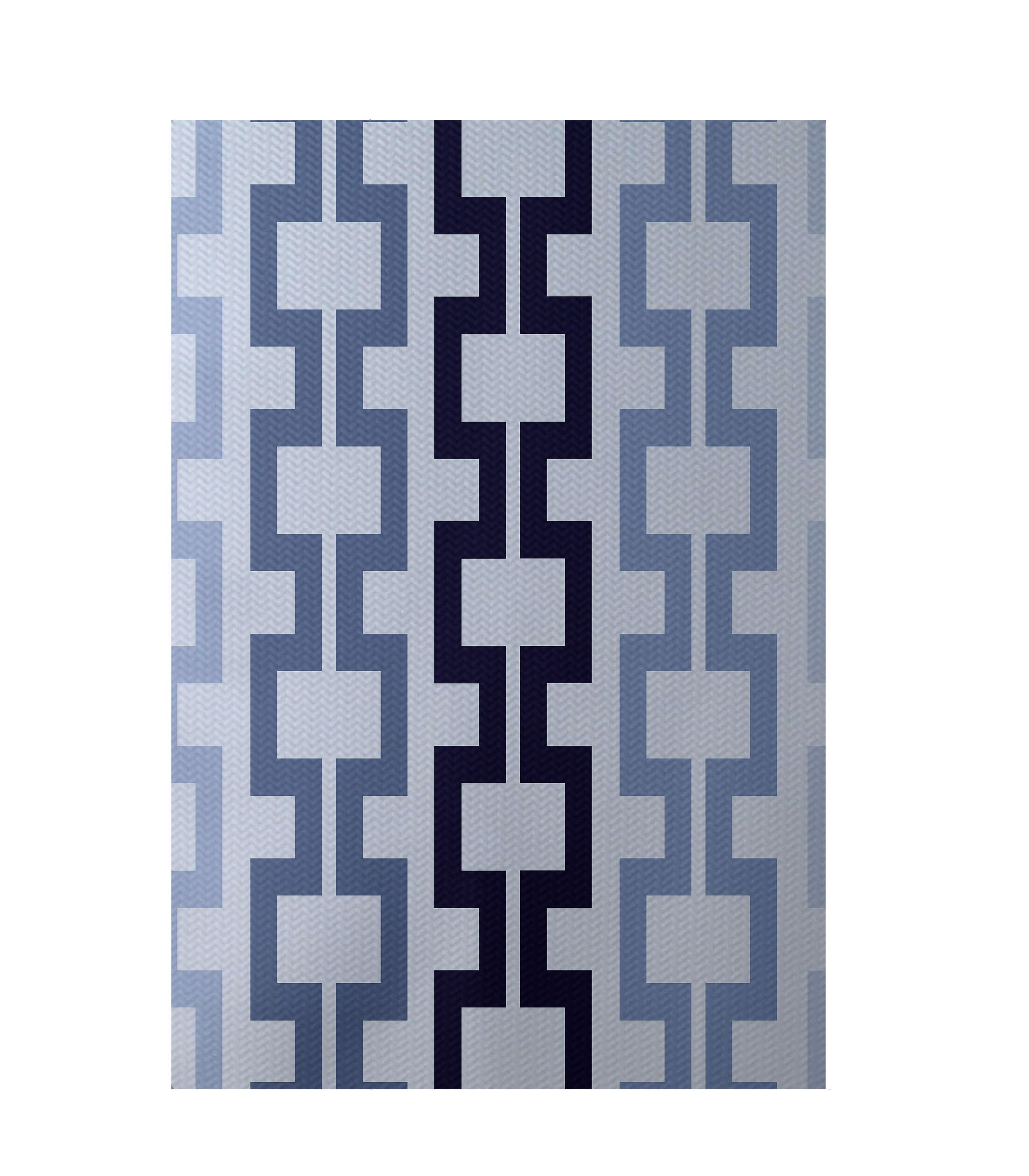 Geometric Blue Indoor/Outdoor Area Rug Rug Size: Rectangle 3' x 5'