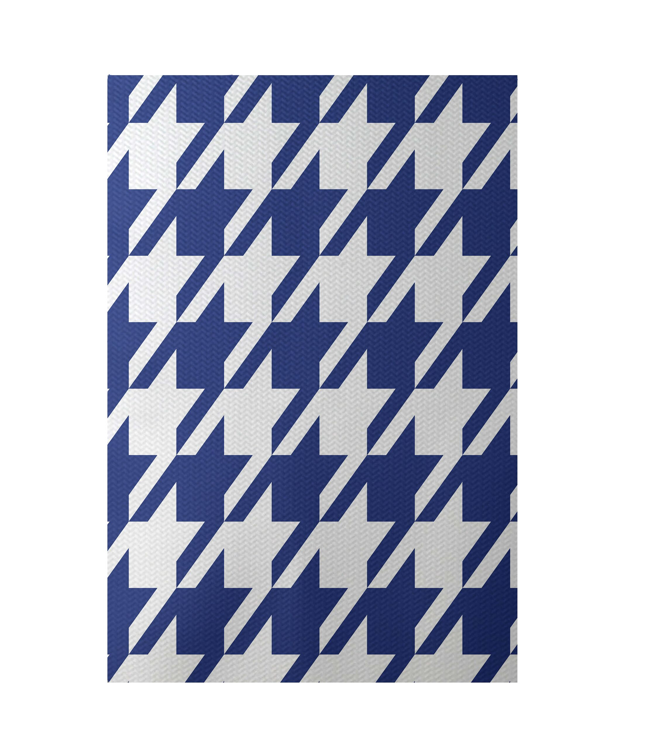 Geometric Royal Blue Indoor/Outdoor Area Rug Rug Size: Rectangle 4' x 6'