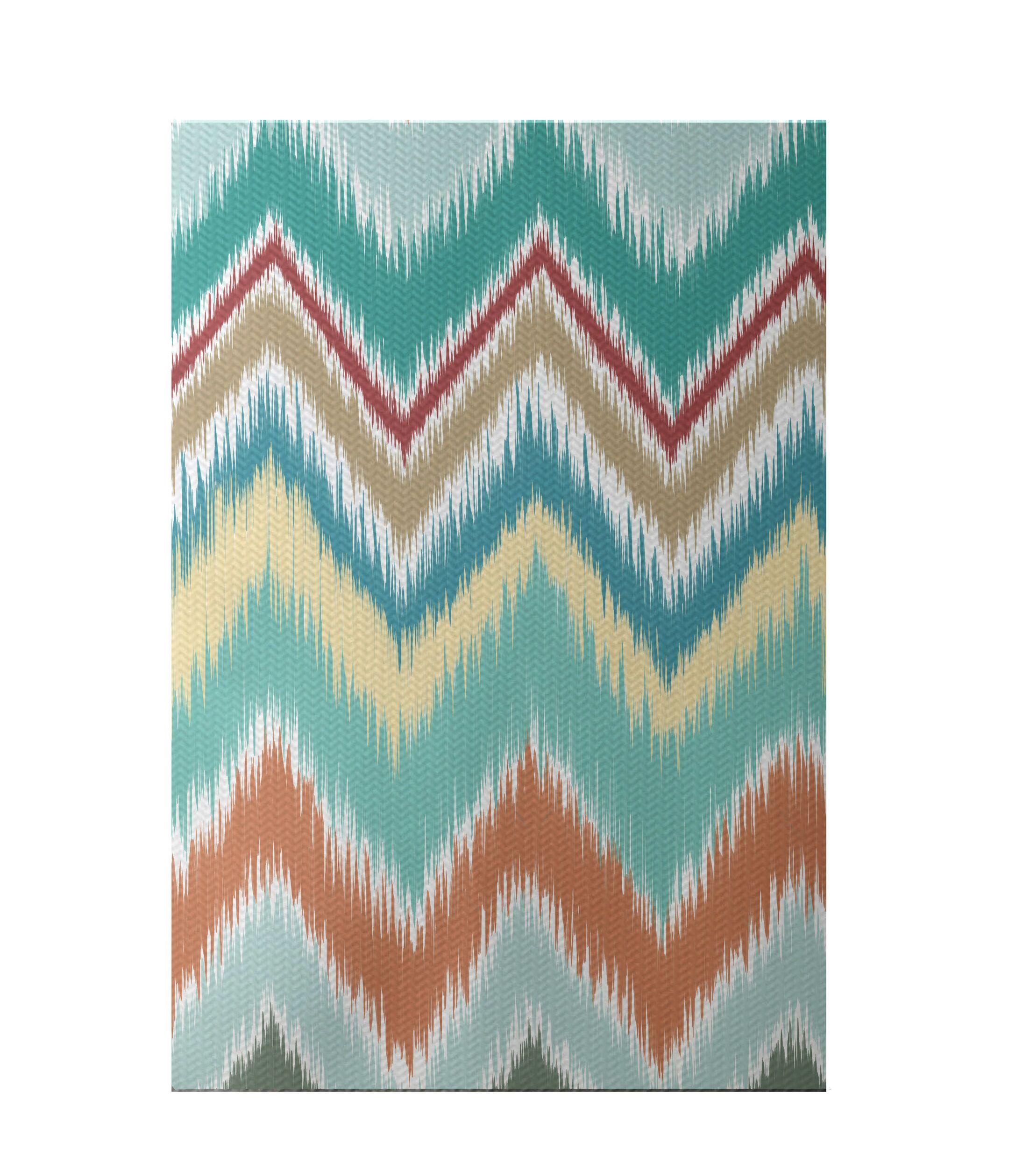 Ikat-arina Stripe Print Jade Indoor/Outdoor Area Rug Rug Size: Rectangle 3' x 5'