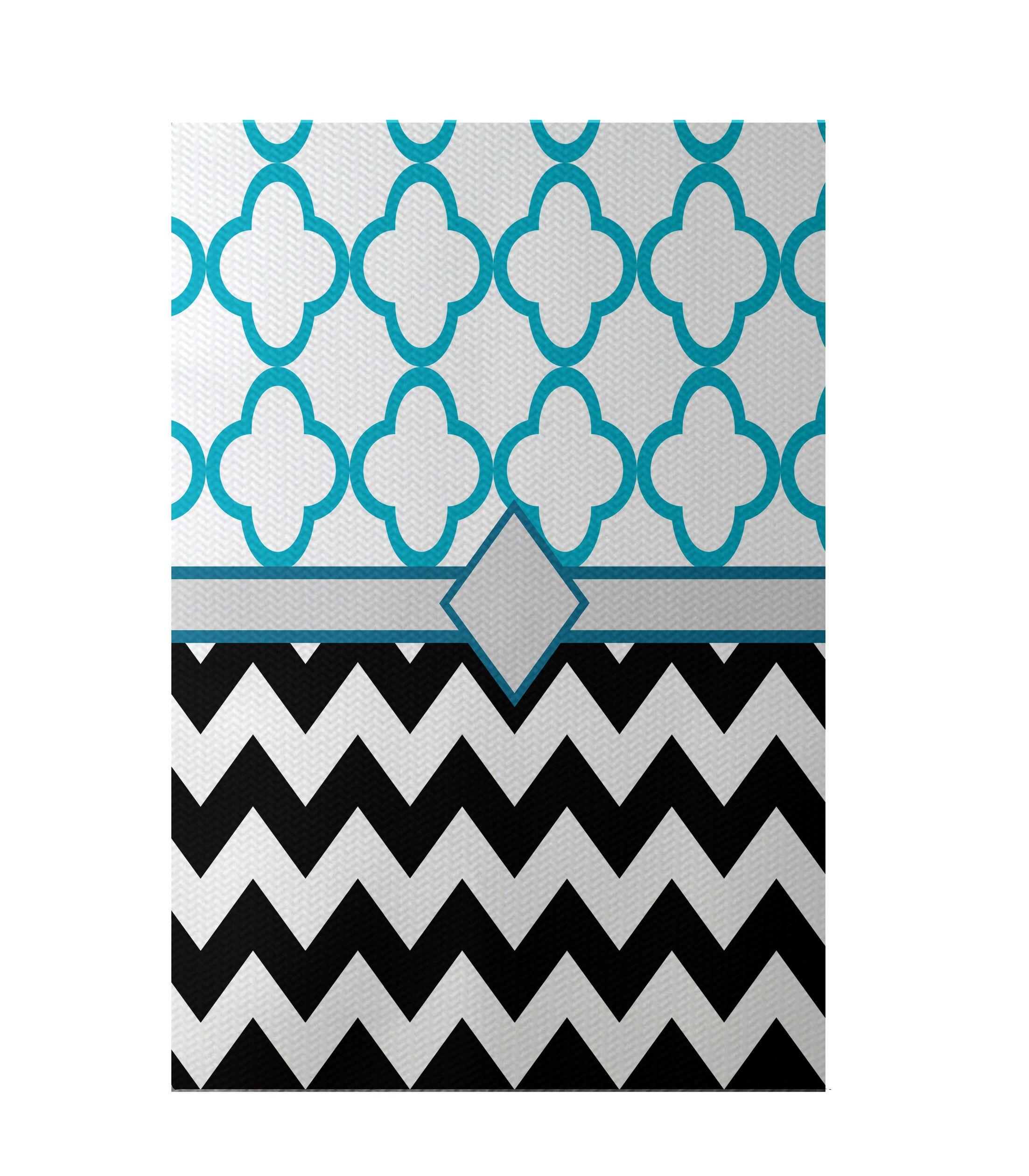 Express Line Geometric Print Black Indoor/Outdoor Area Rug Rug Size: Rectangle 3' x 5'