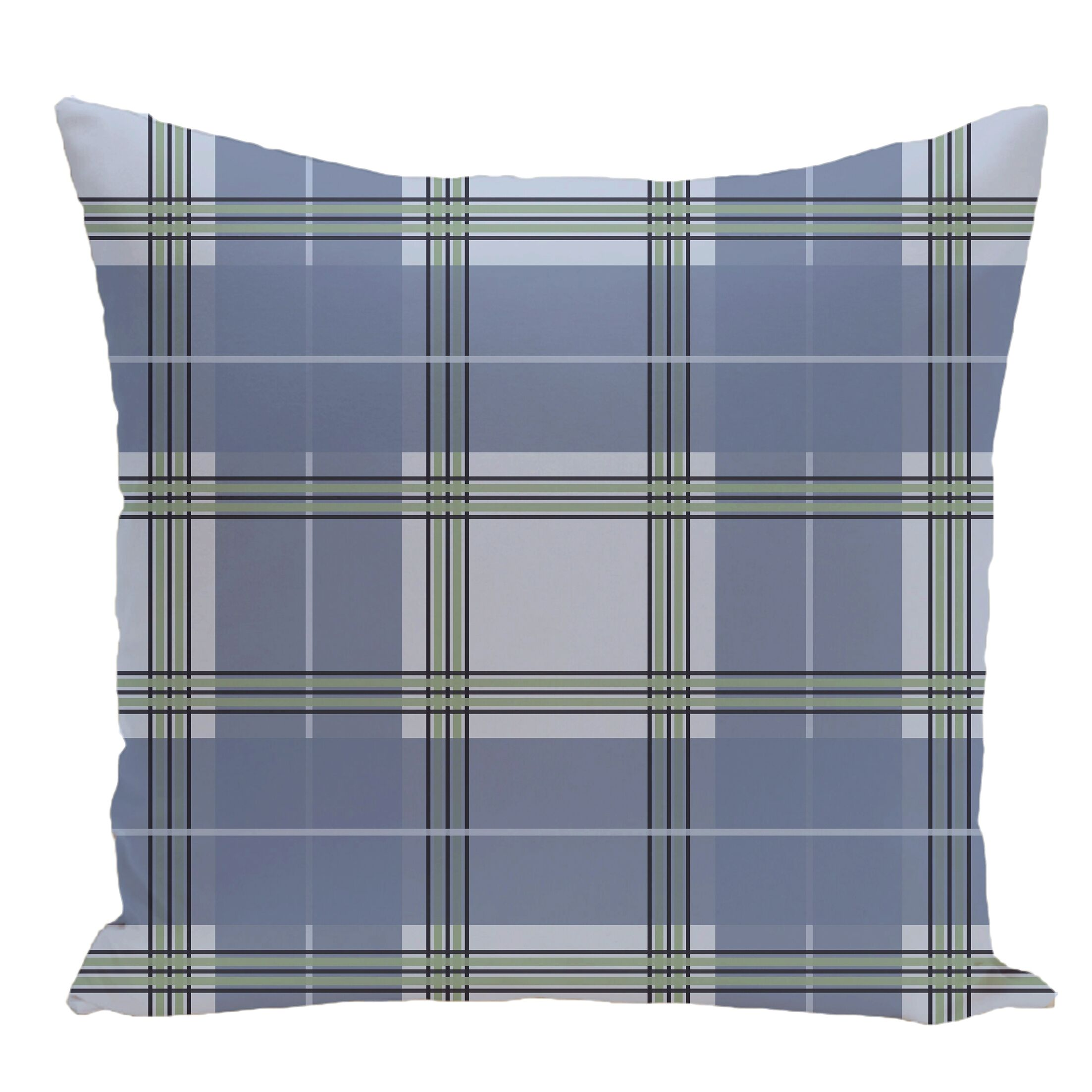 Plaid Decorative Floor Pillow Color: Light Blue