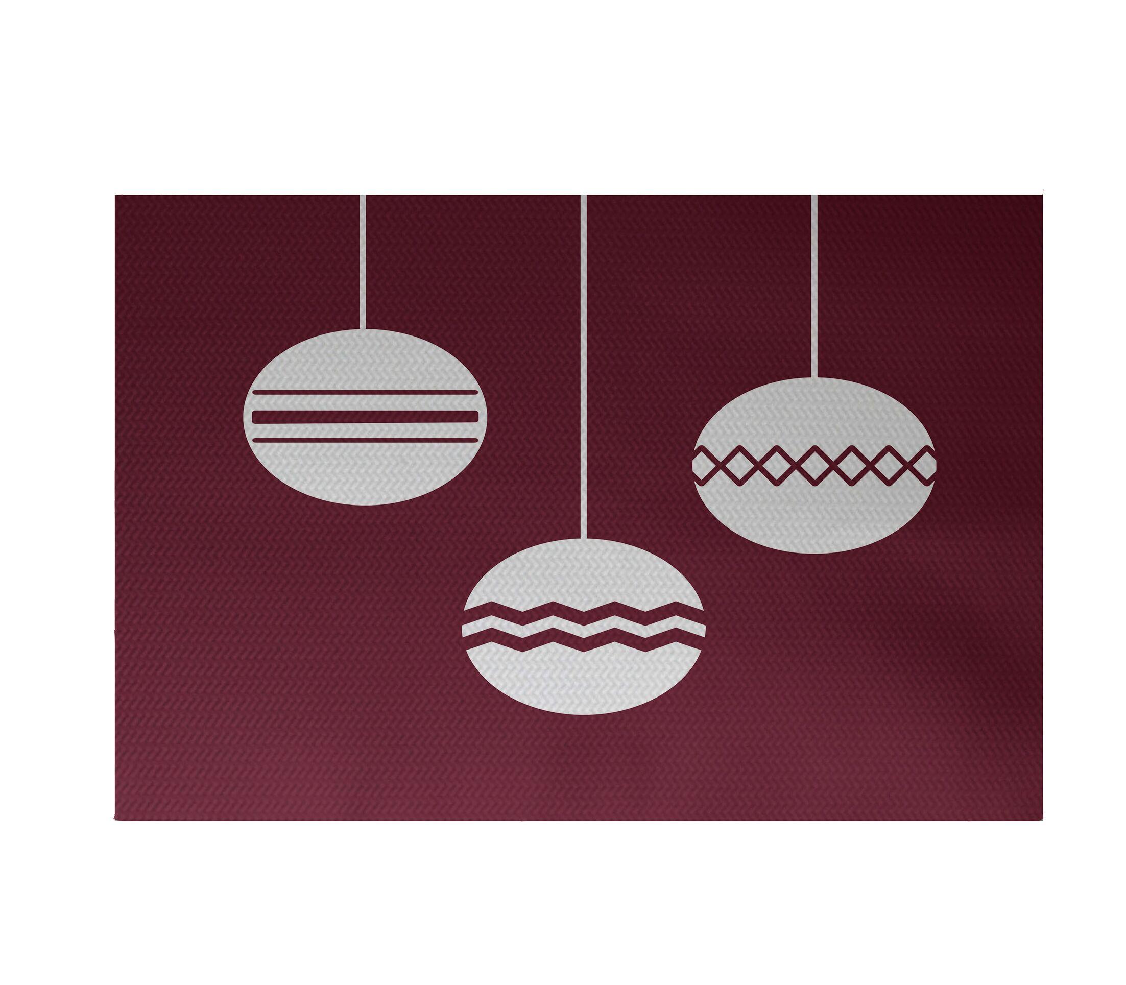Geo-Bulbs Decorative Holiday Print Cranberry Burgundy Indoor/Outdoor Area Rug Rug Size: Rectangle 3' x 5'