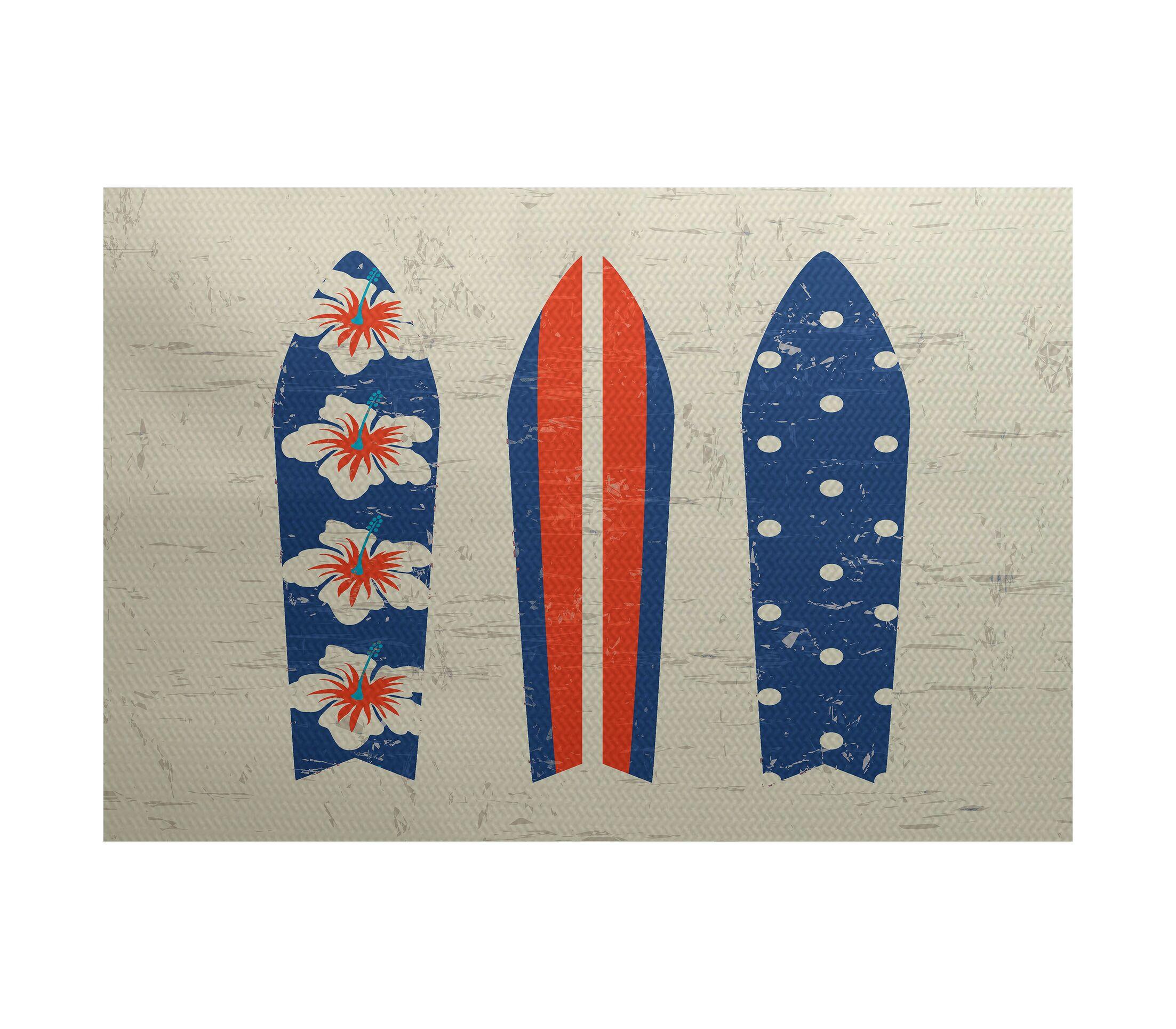 Golden Beach Blue Indoor/Outdoor Area Rug Rug Size: Rectangle 3' x 5'
