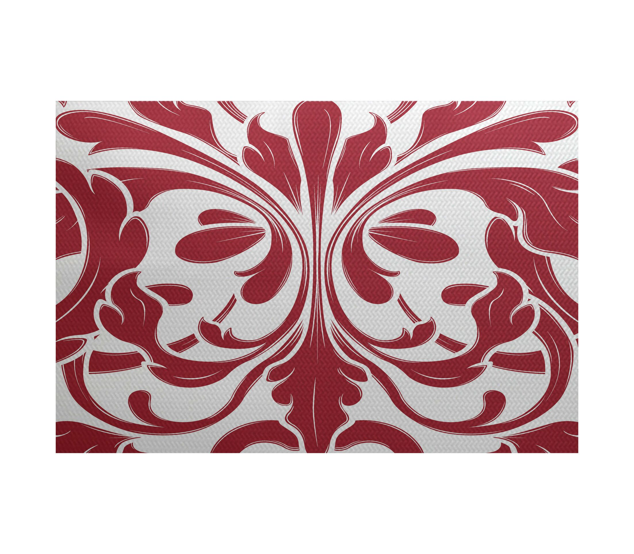 Rhymer Red Indoor/Outdoor Area Rug Rug Size: Rectangle 4' x 6'