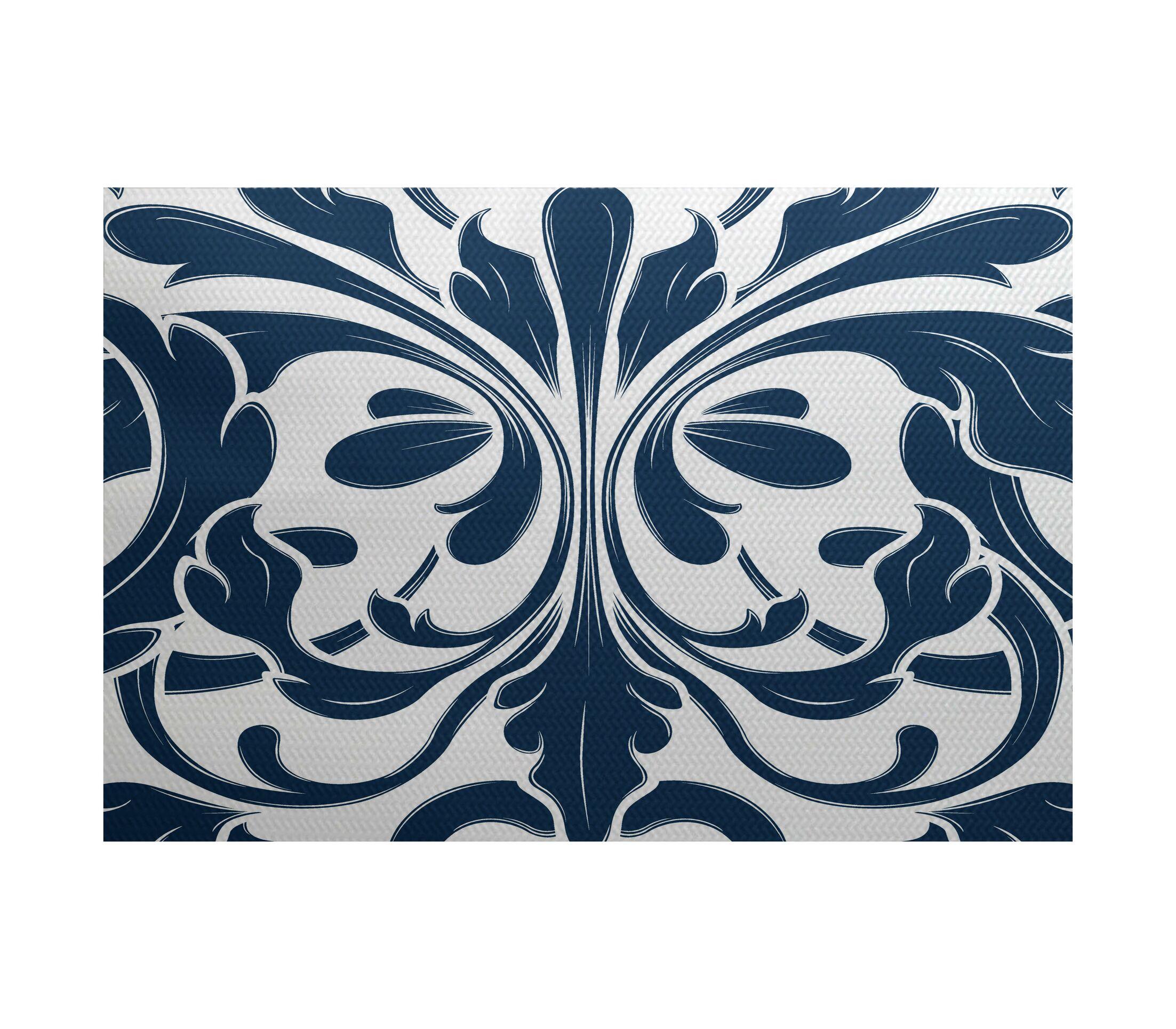 Rhymer Blue Indoor/Outdoor Area Rug Rug Size: Rectangle 5' x 7'