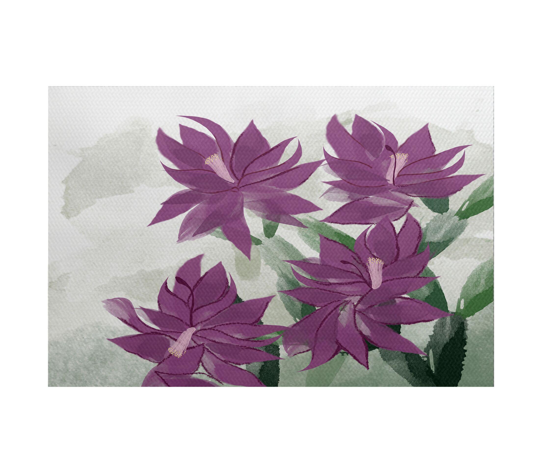 Amanda Christmas Cactus Floral Print Purple/Green Indoor/Outdoor Area Rug Rug Size: Rectangle 3' x 5'
