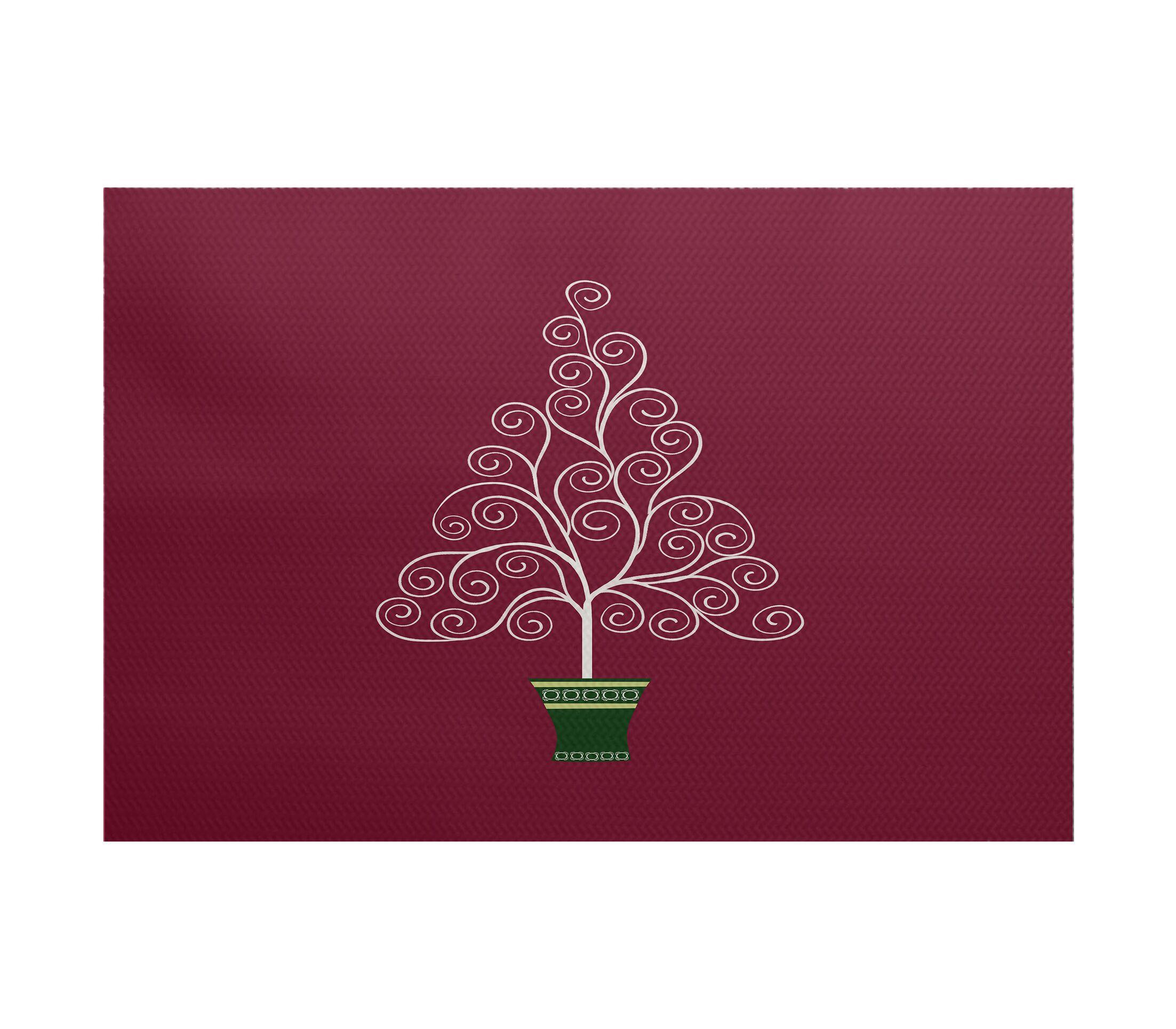 Filigree Tree Burgundy Indoor/Outdoor Area Rug Rug Size: Rectangle 3' x 5'
