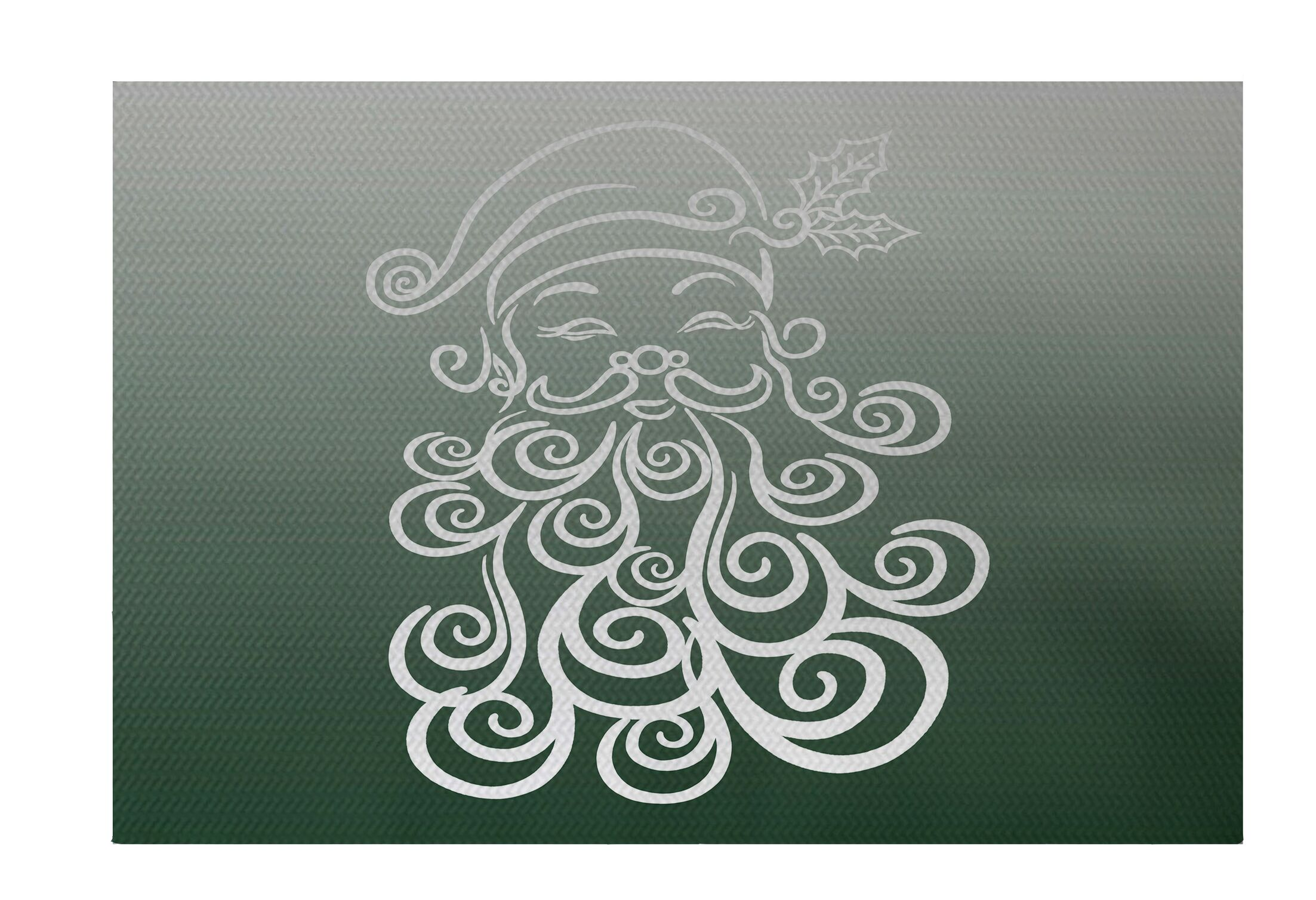 Santa Baby Decorative Holiday Ombre Print Dark Green Indoor/Outdoor Area Rug Rug Size: Rectangle 5' x 7'