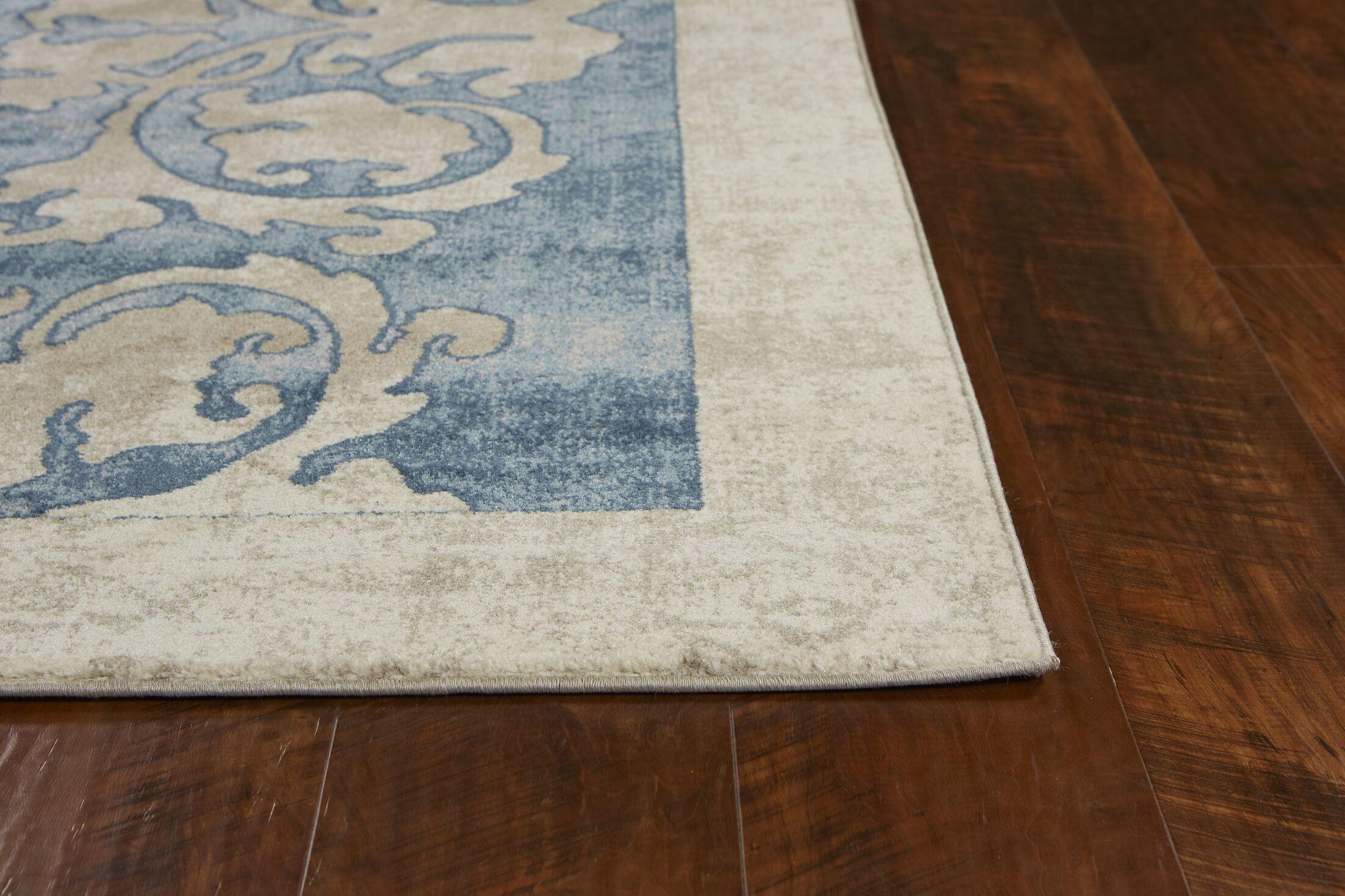 Winston Watercolor Batik Teal/Beige Area Rug Rug Size: Round 6'6