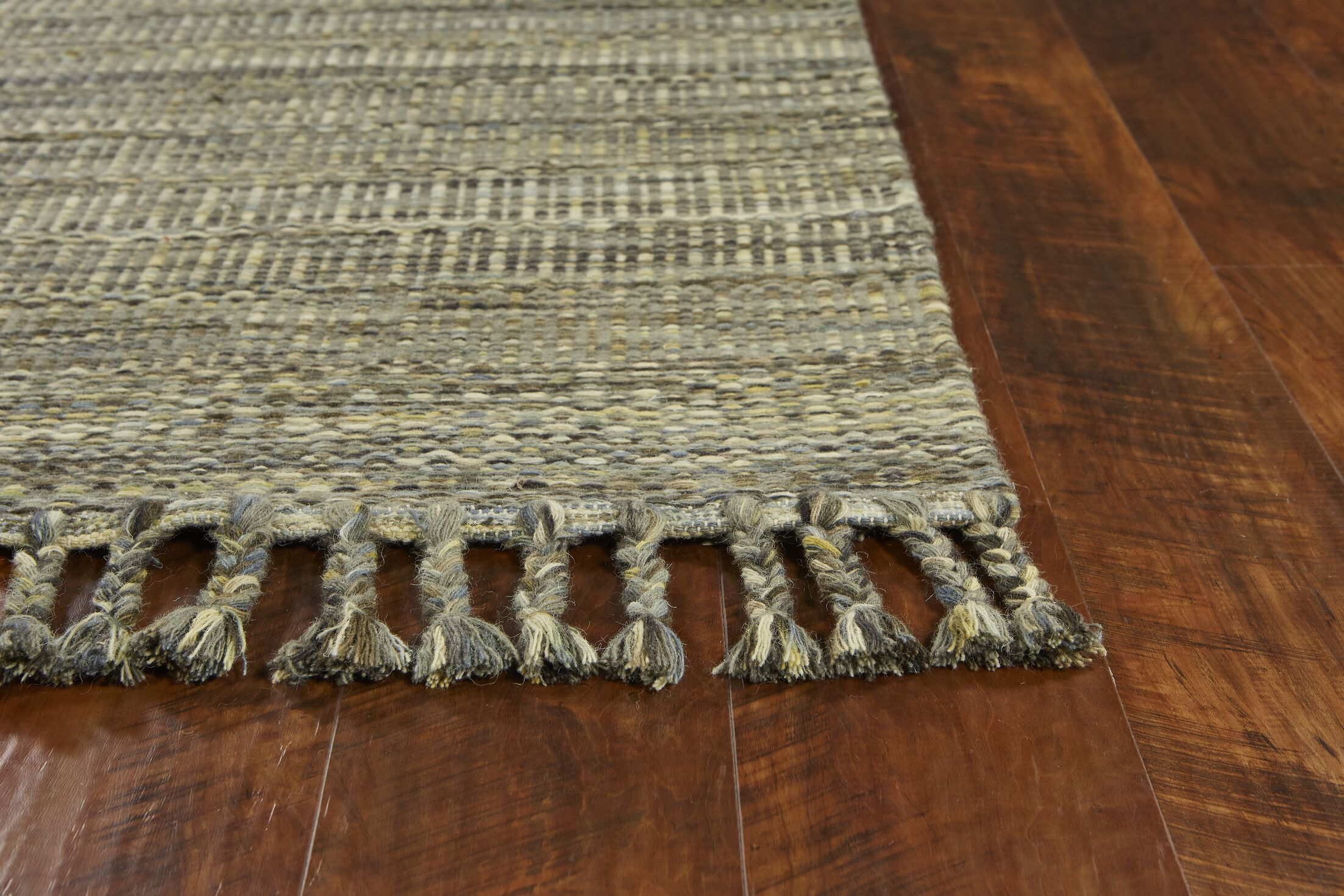 Homespun Mission Hand-Woven Slate Area Rug Rug Size: Rectangle 8' x 10'
