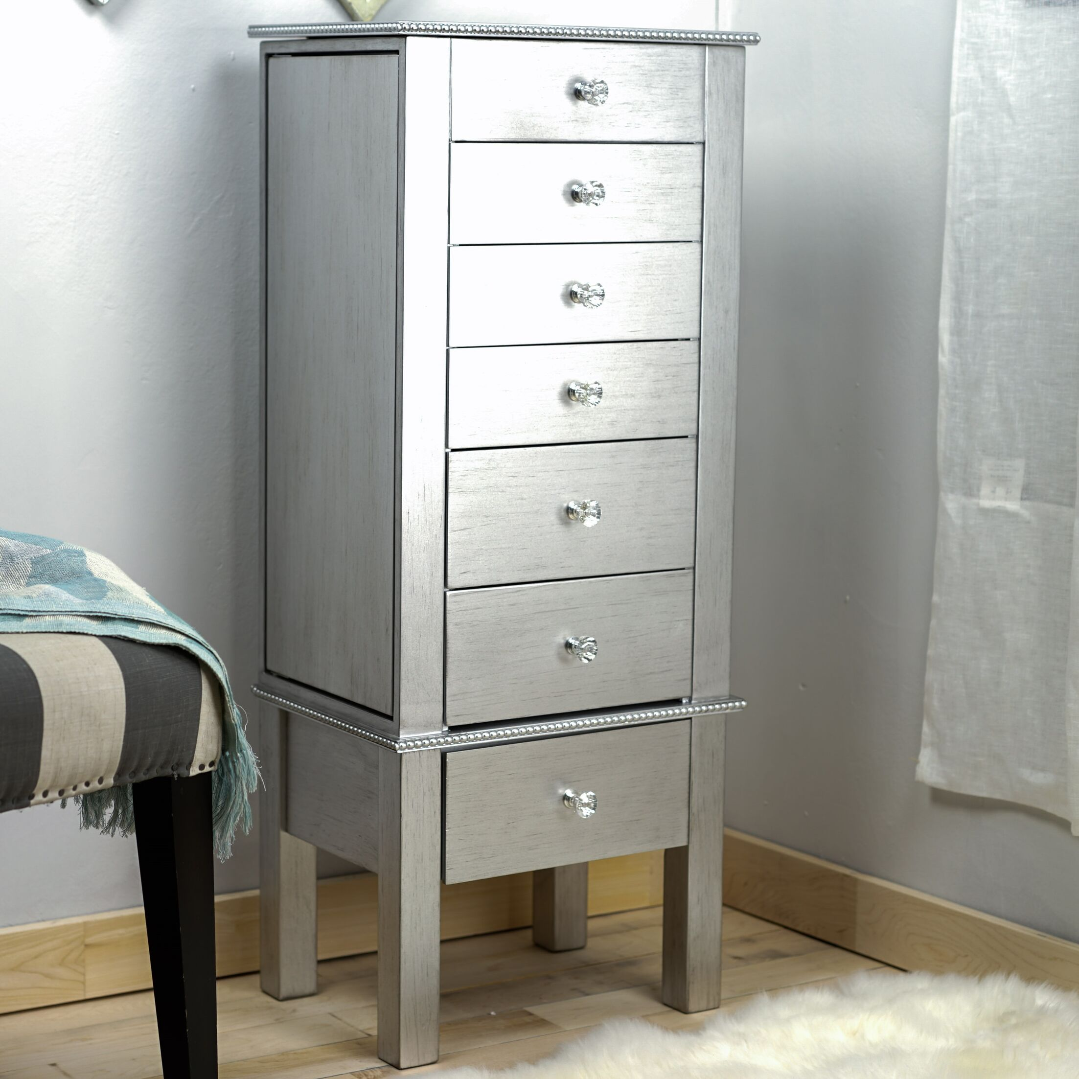 Bangor Jewelry Armoire Color: Silver