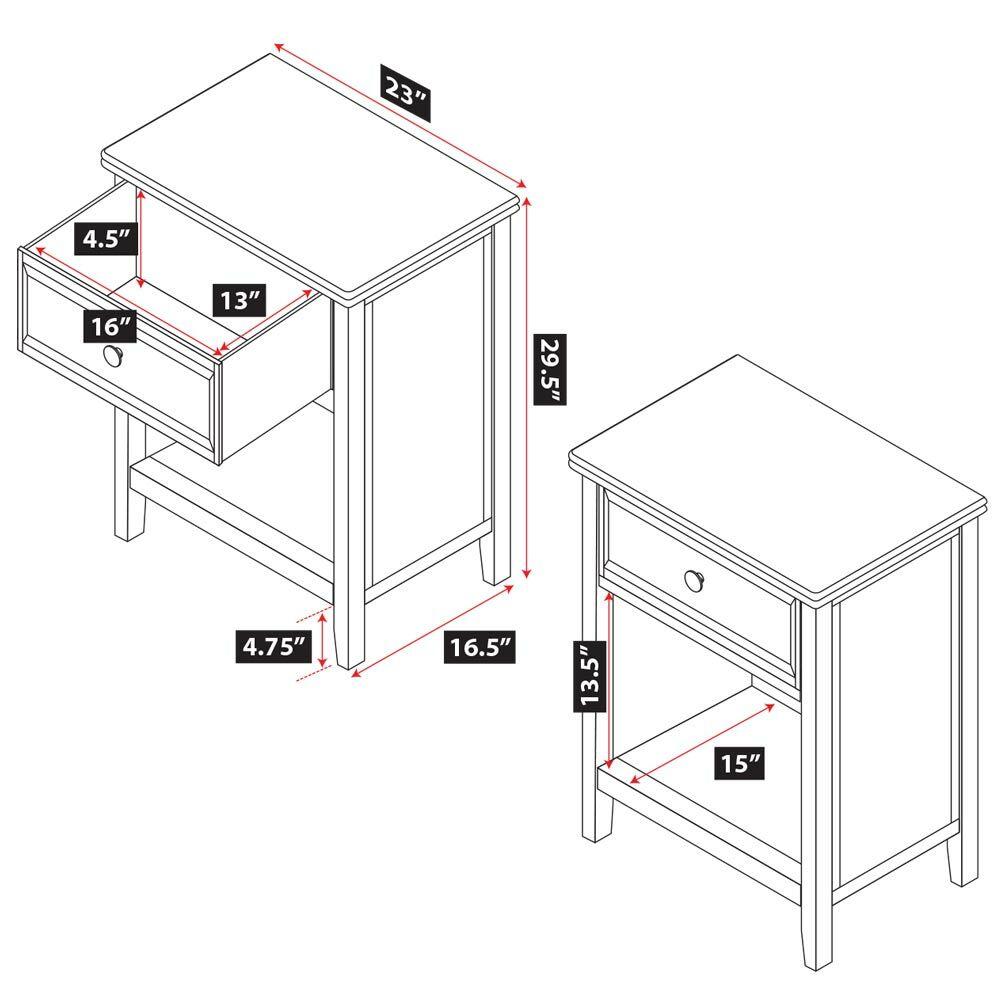 Verona 1 Drawer Nightstand