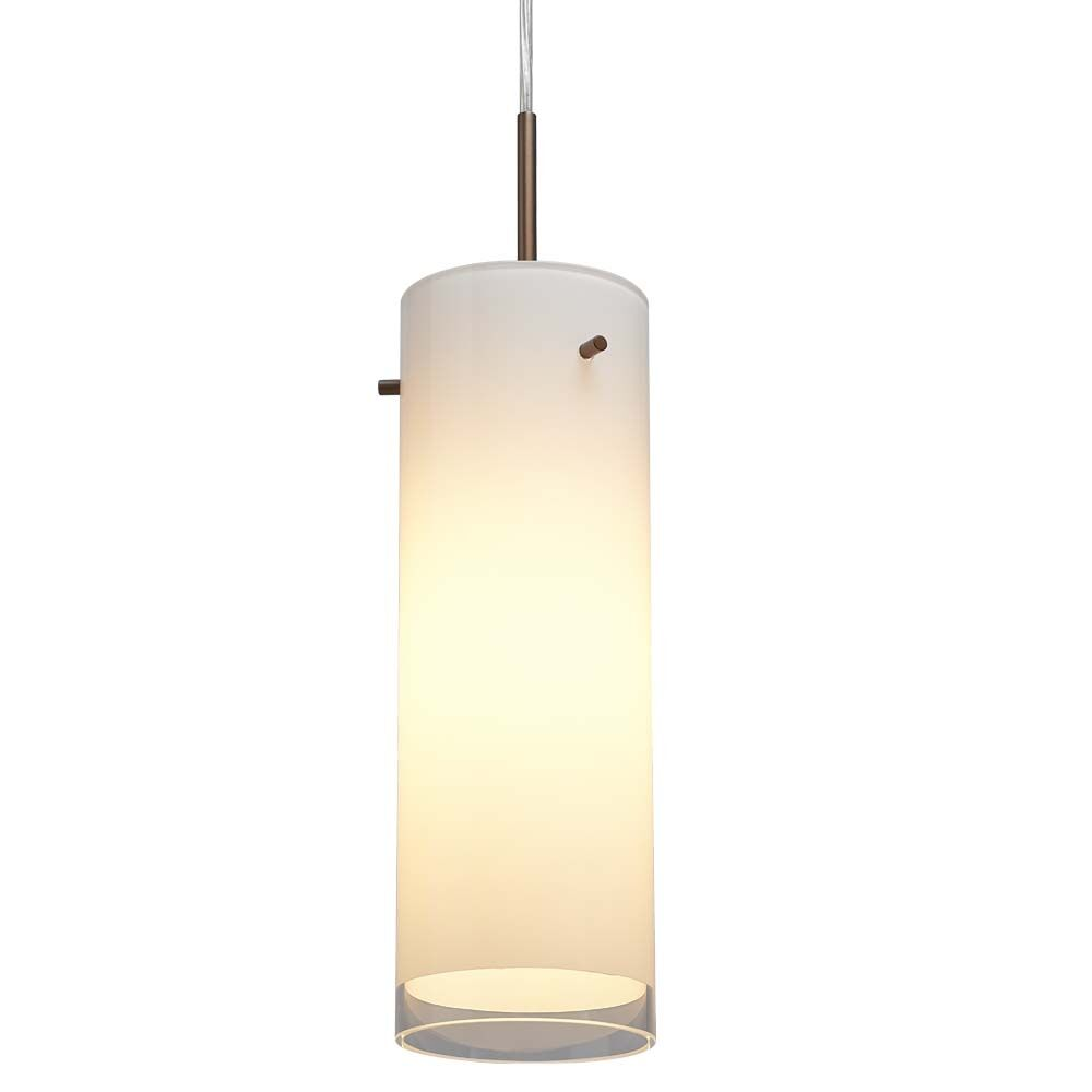 Cyrus 1-Light Cylinder Pendant Color / Shade Color: Bronze / White, Mounting: 4