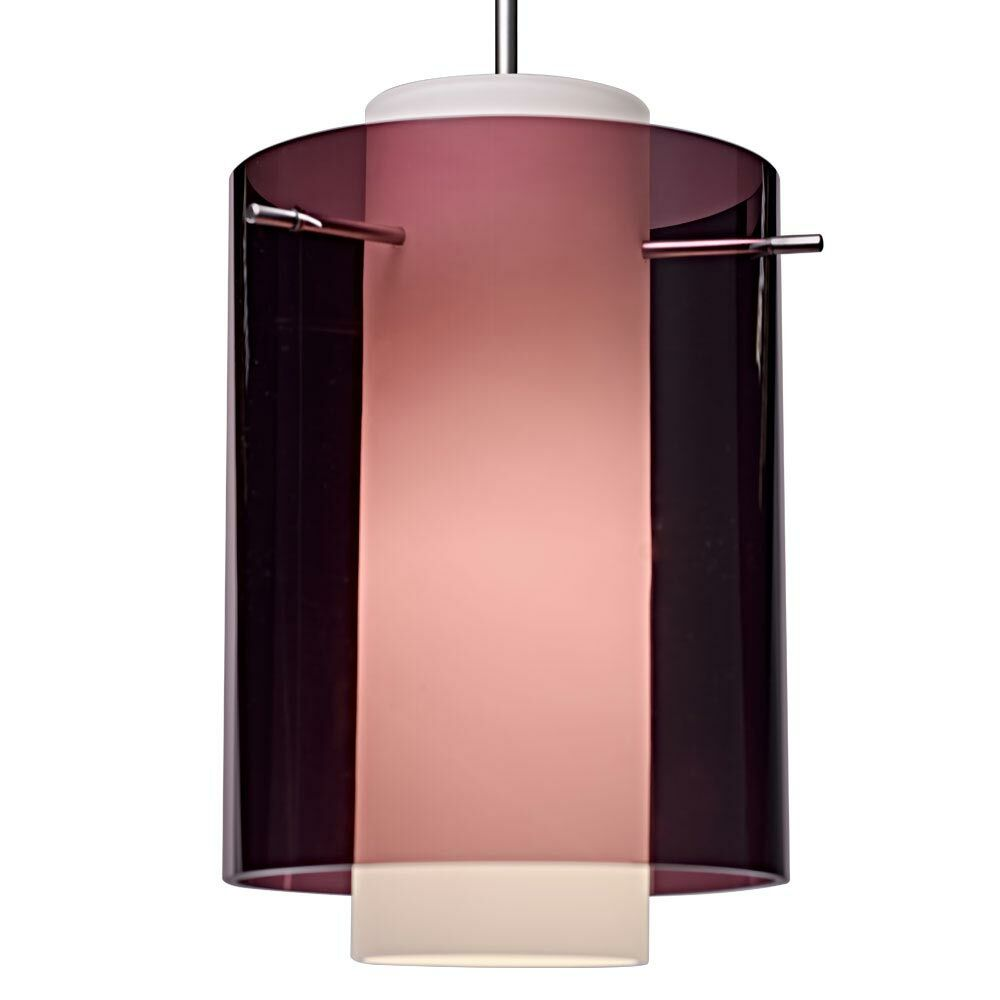 Rome 1-Light Cylinder Pendant Bulb Type: Incandescent, Color: Matte Chrome, Shade Color: Amethyst