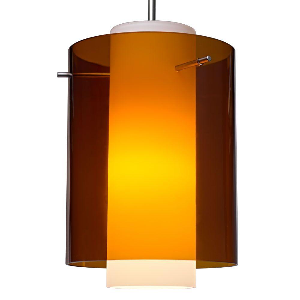 Rome 1  LED Cylinder Pendant Color: Matte Chrome, Shade Color: Bourbon
