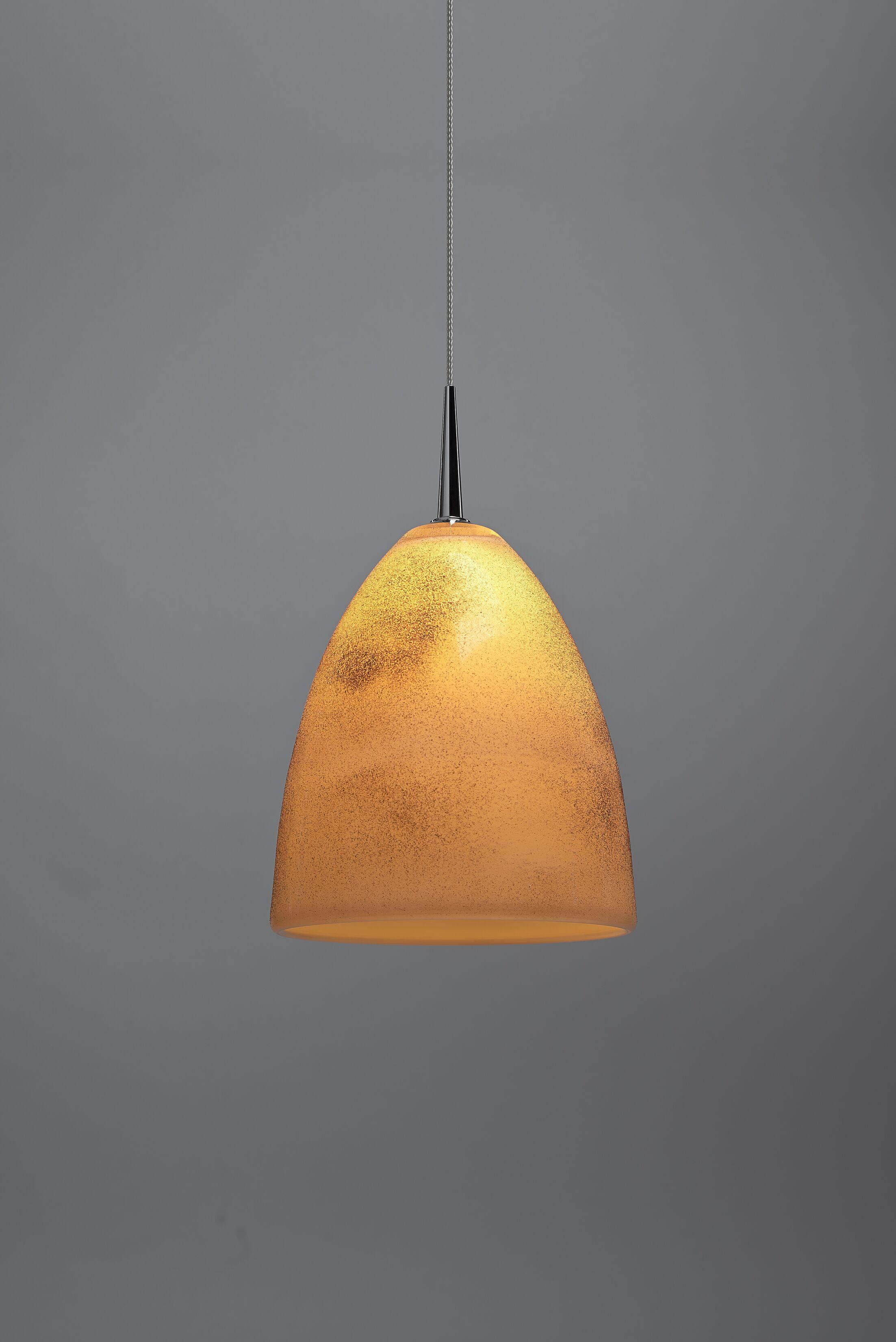 Alexander 1-Light Cone Pendant Shade Color: Cream, Color: Chrome