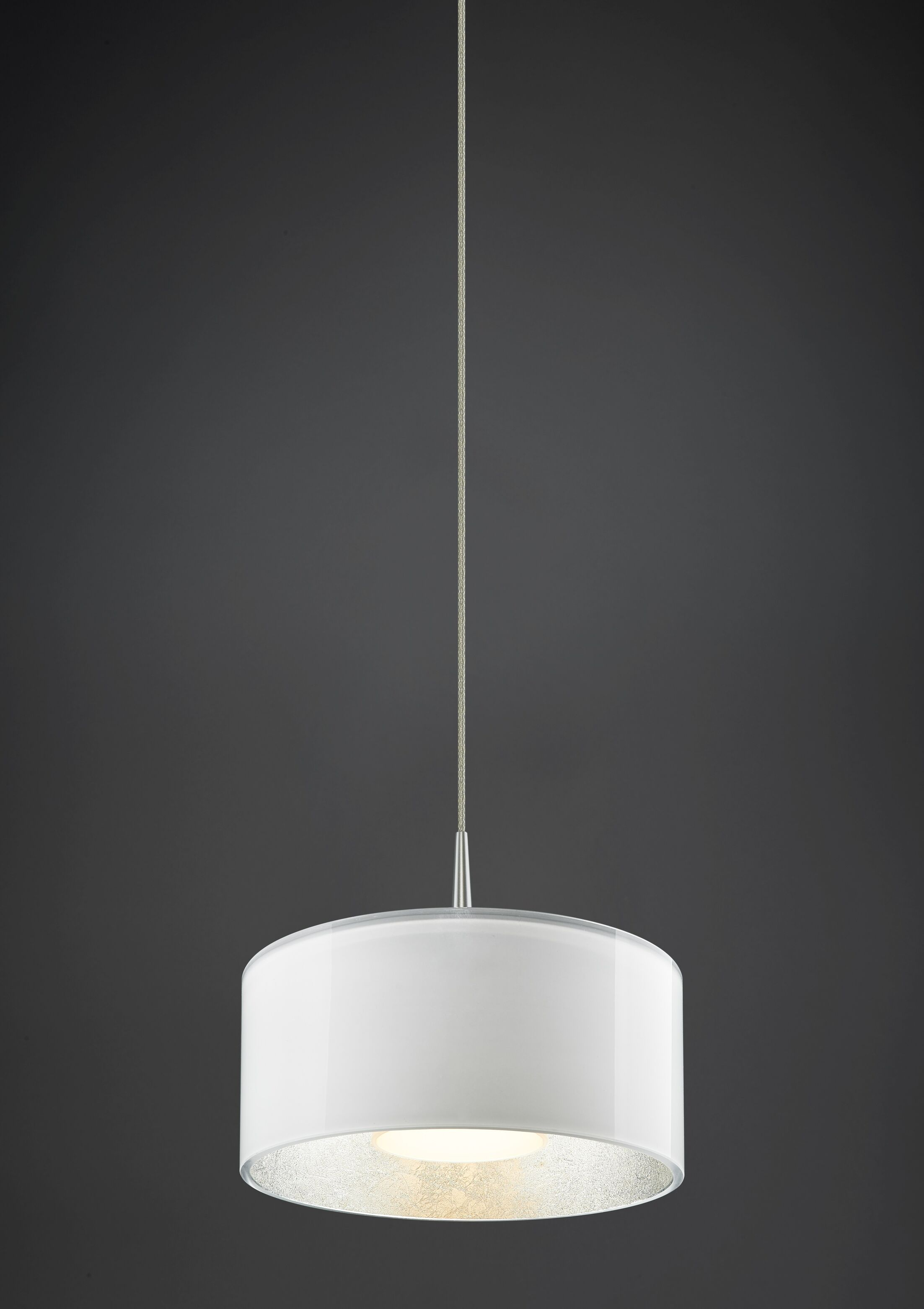 Jaggers 1-Light Pendant Finish: Matte Chrome, Interior Shade Color: Silver