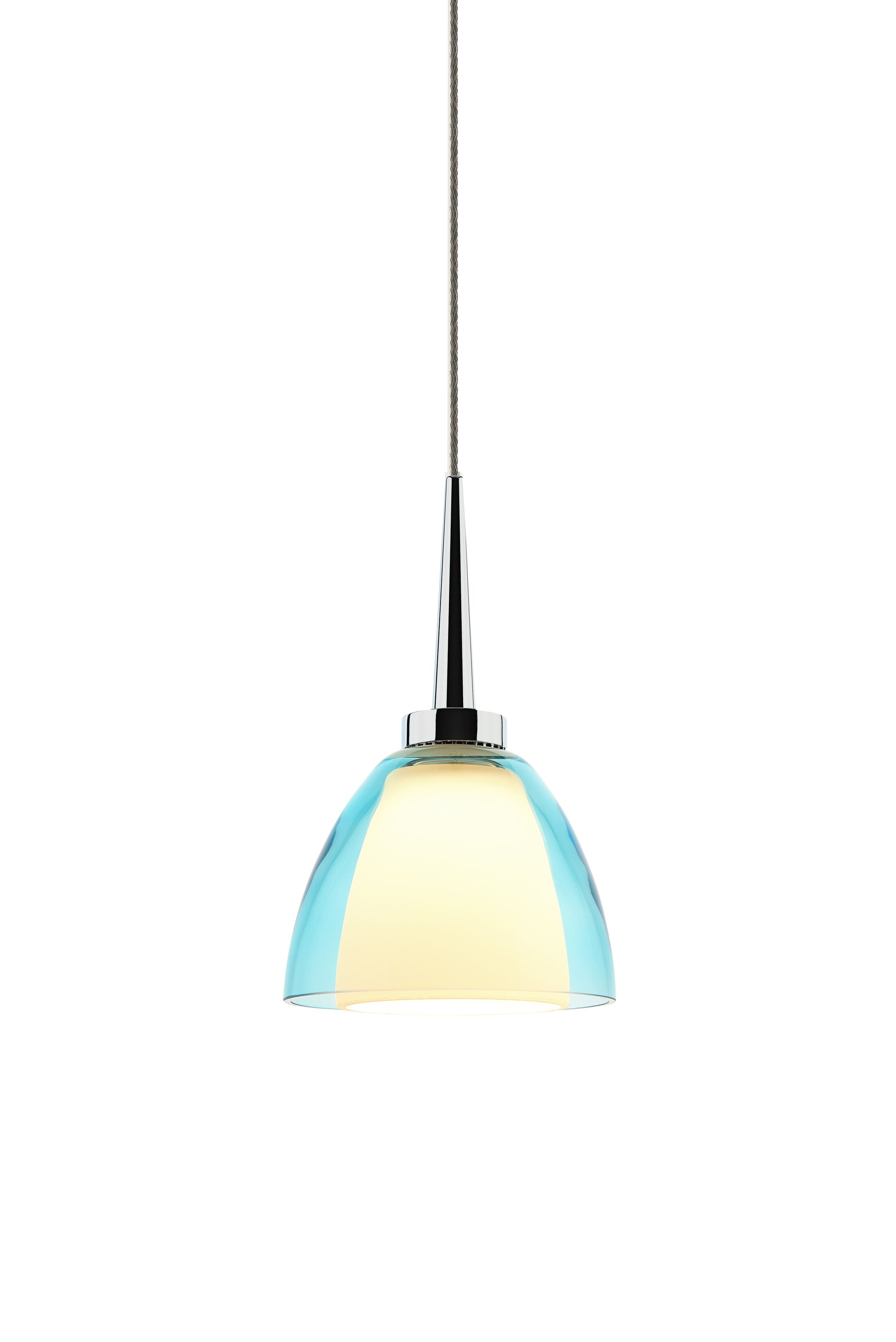 Rainbow 1-Light Cone Pendant Color: Chrome, Shade Color: Turquoise