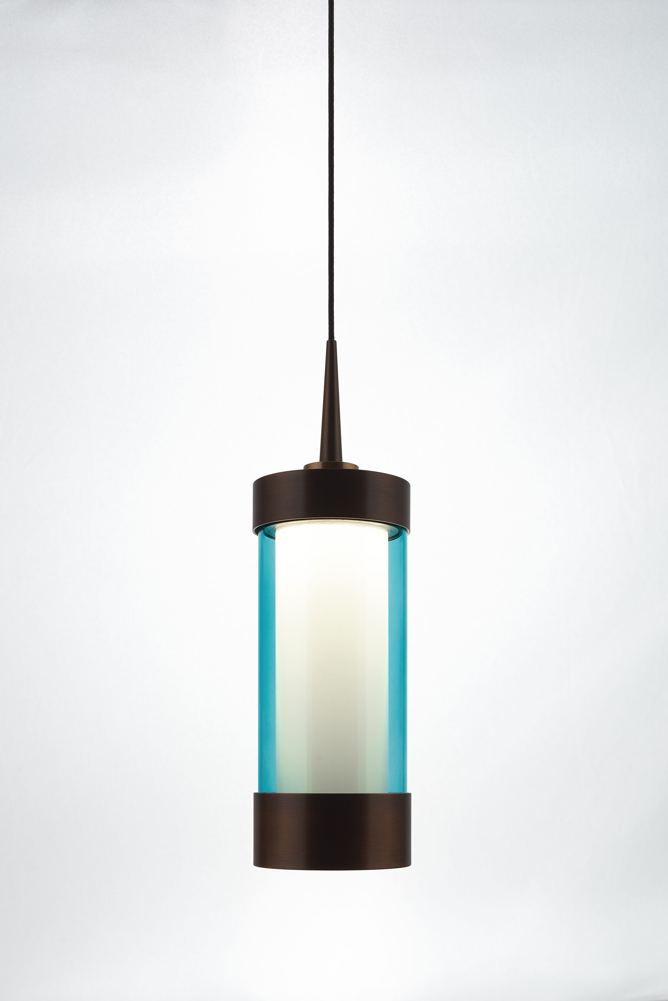 Silva 1-Light Cylinder Pendant Color: Bronze, Shade Color: Turquoise