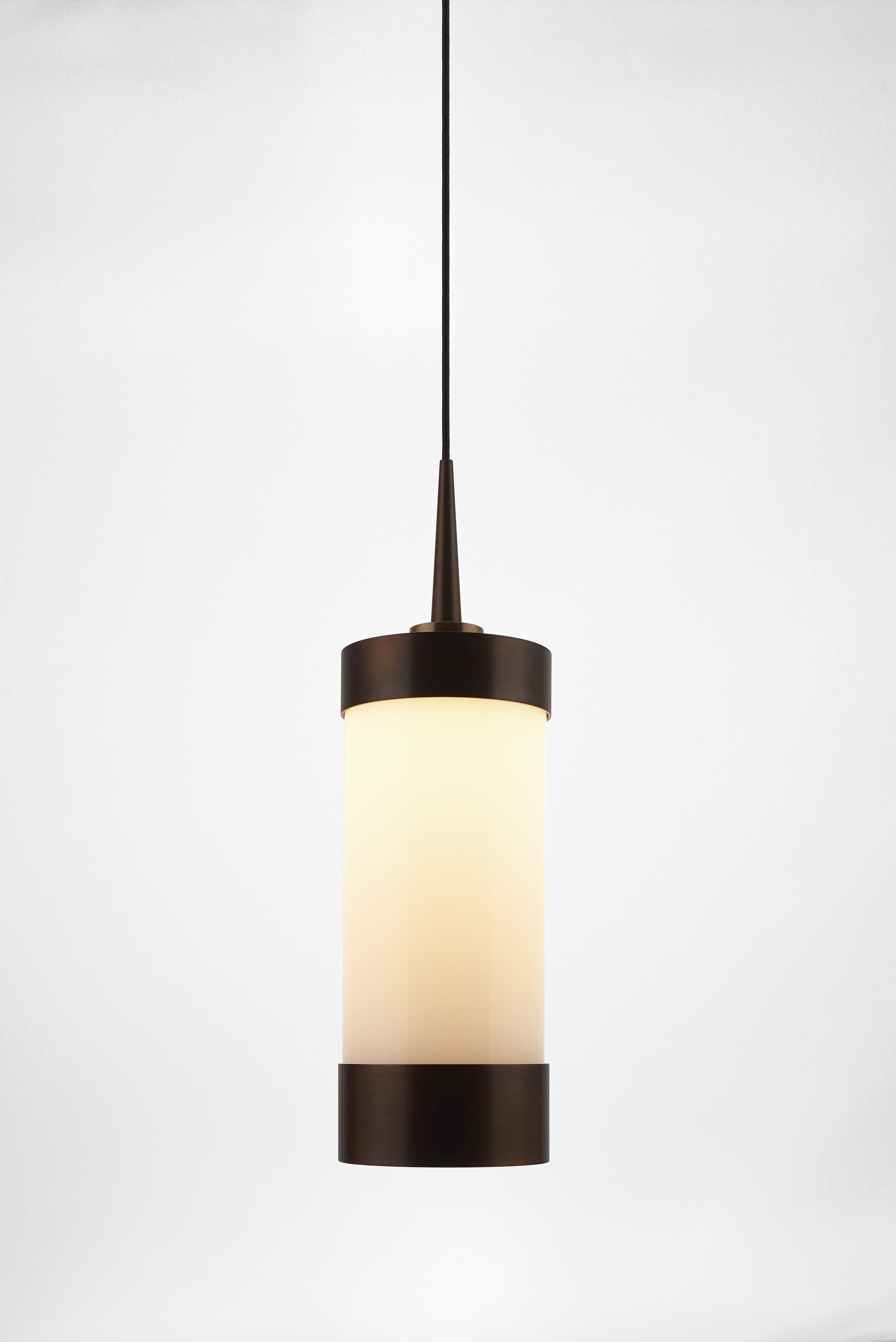 Silva 1-Light Cylinder Pendant Color: Bronze, Shade Color: White