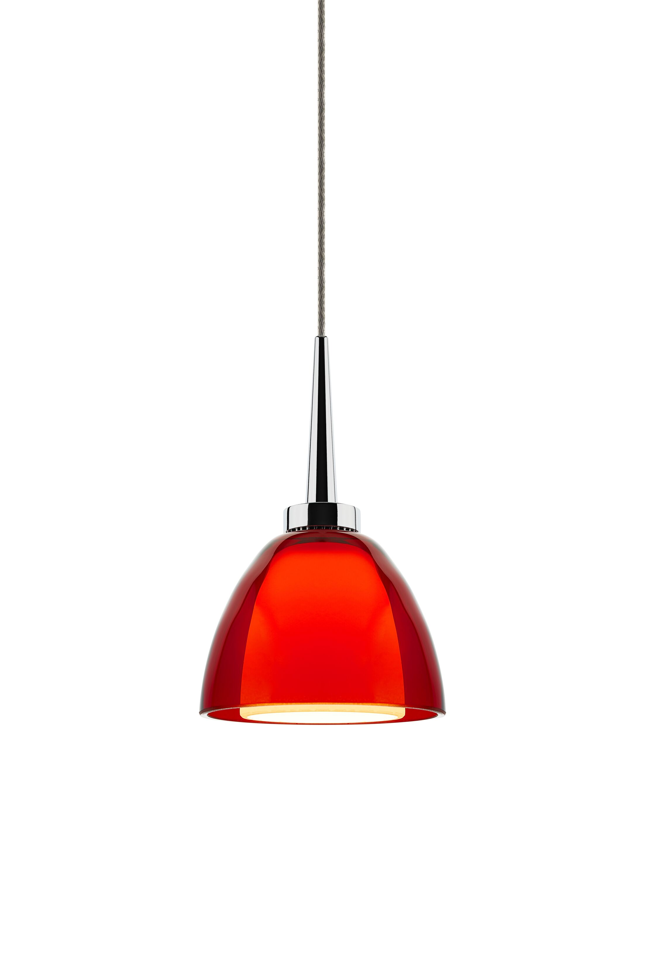 Rainbow 1-Light Cone Pendant Color: Chrome, Shade Color: Red