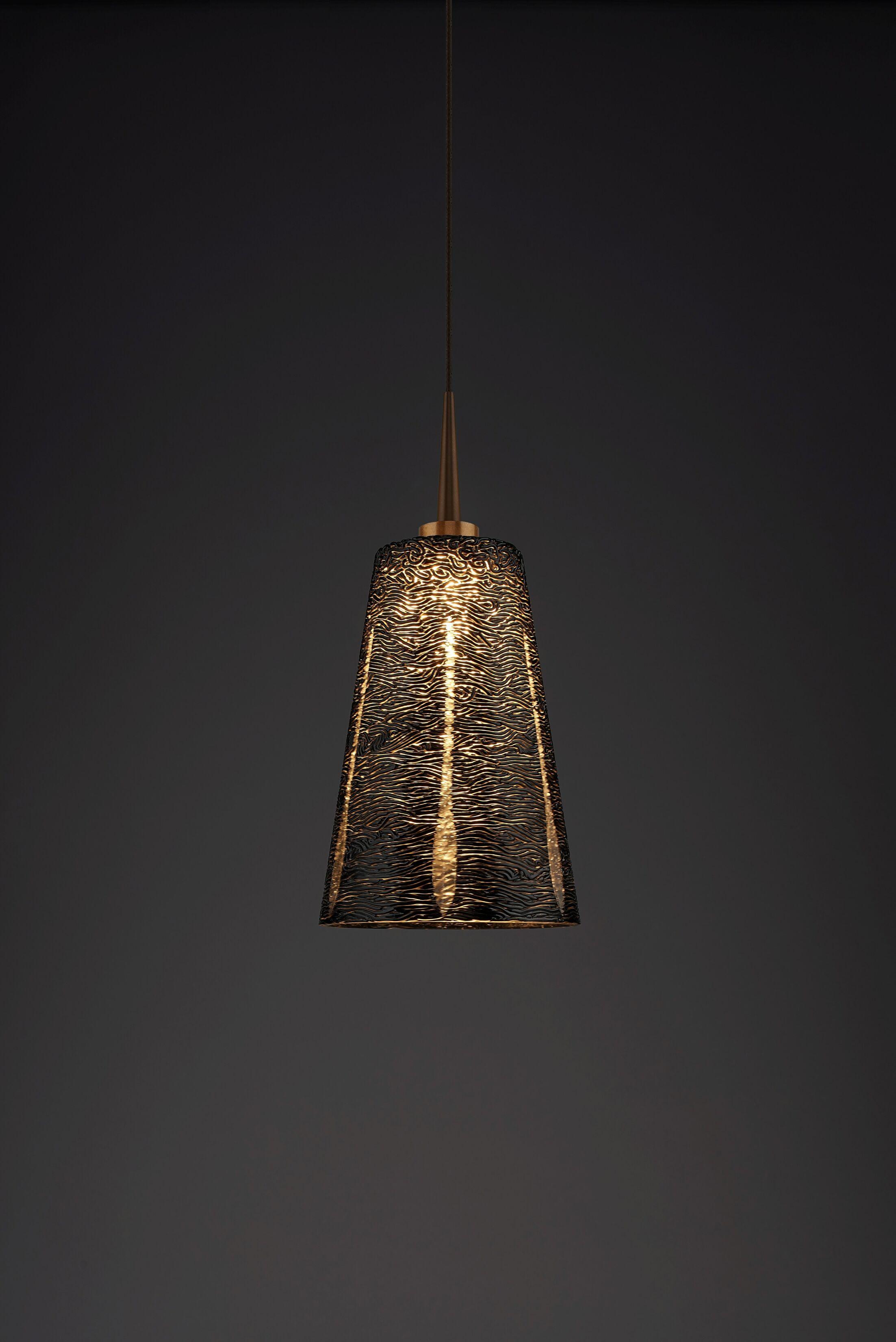 Bling 1-Light Cone Pendant Color: Bronze, Shade Color: Black