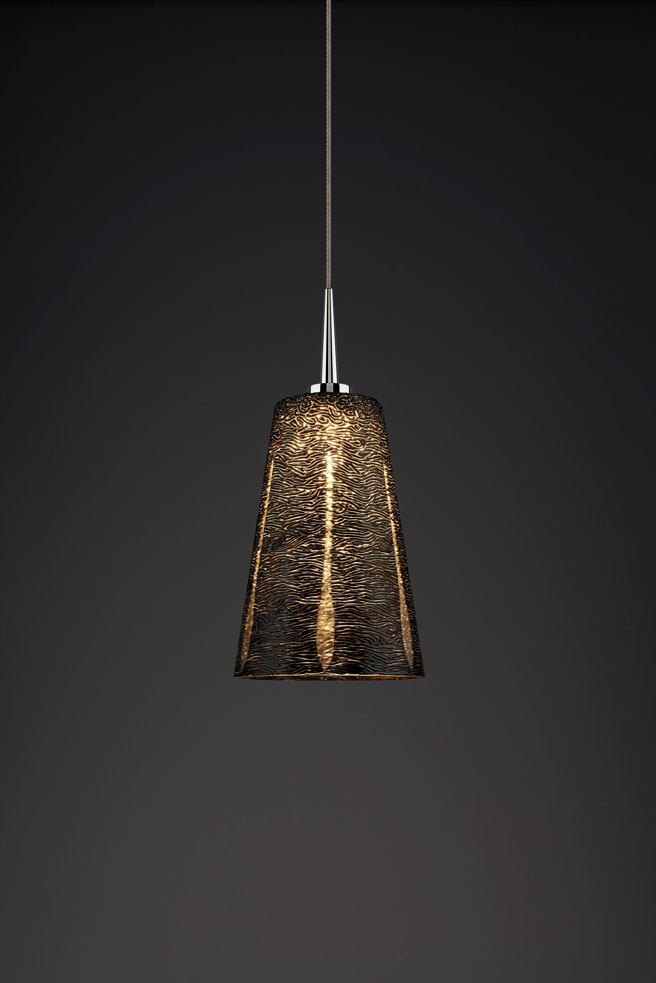 Bling 1-Light Cone Pendant Color: Chrome, Shade Color: Black