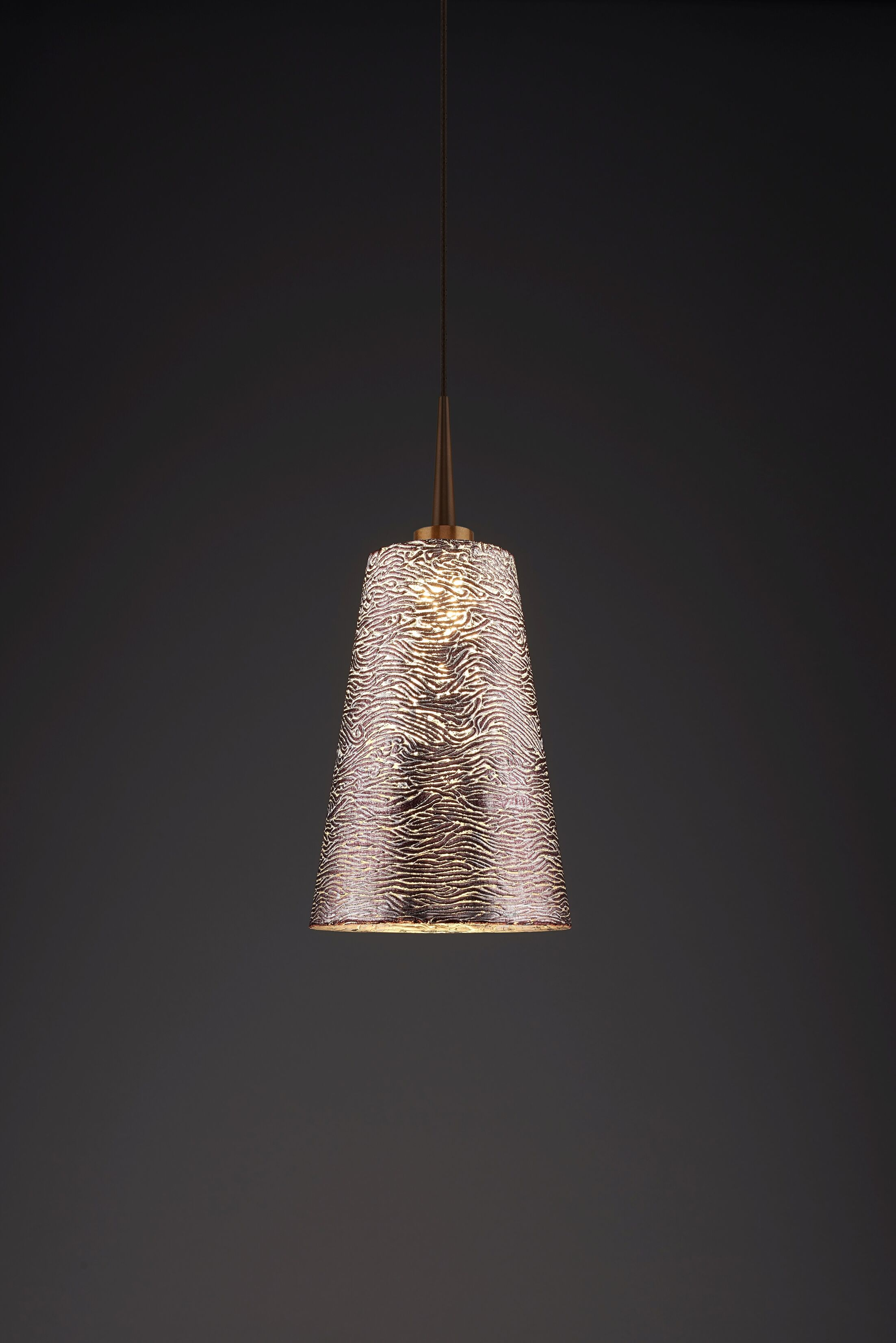 Bling 1-Light Cone Pendant Color: Bronze, Shade Color: Silver