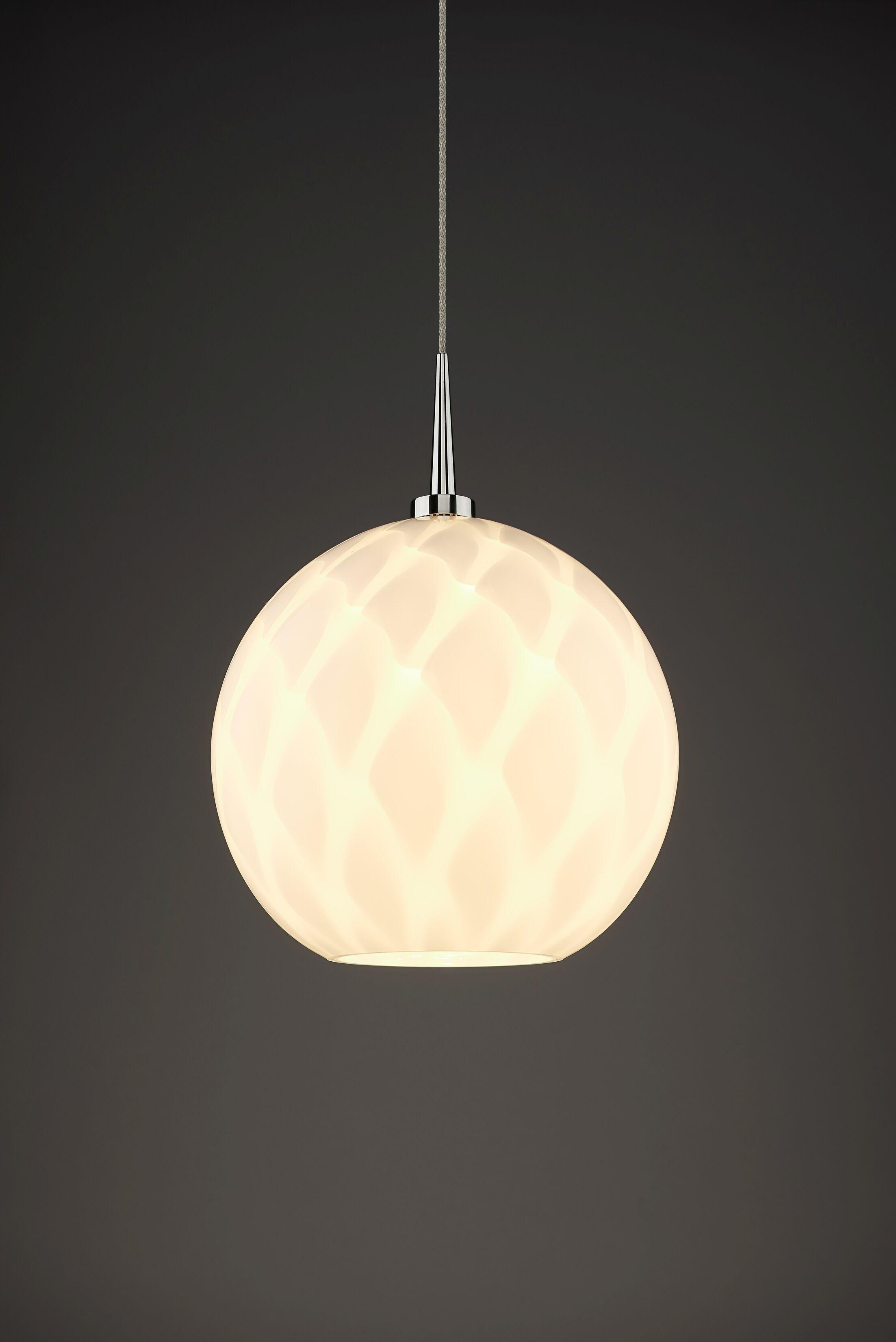 Sirena 1-Light Globe Pendant Shade Color: White, Color: Chrome