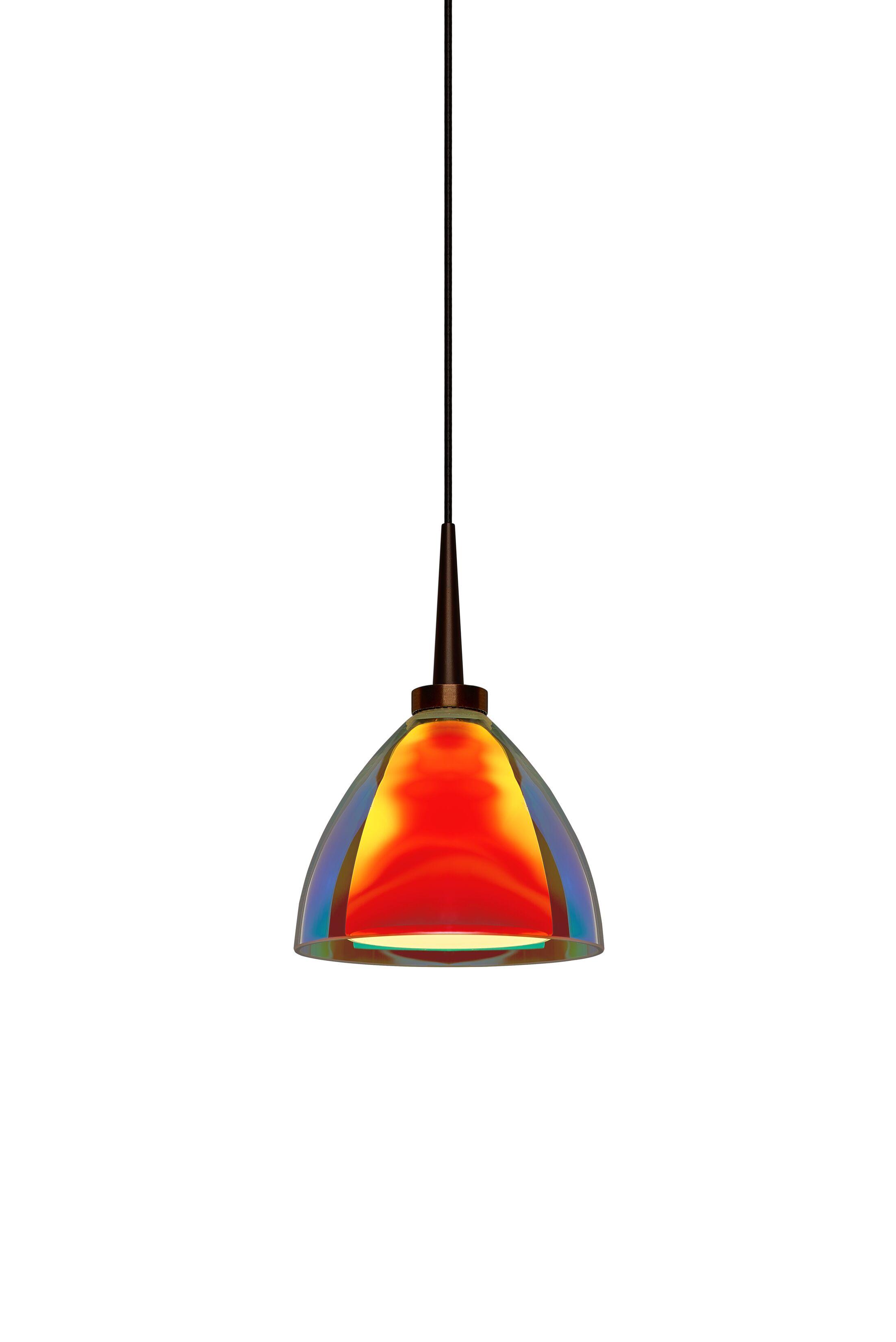 Rainbow 1-Light Cone Pendant Color: Matte Chrome, Shade Color: Orange