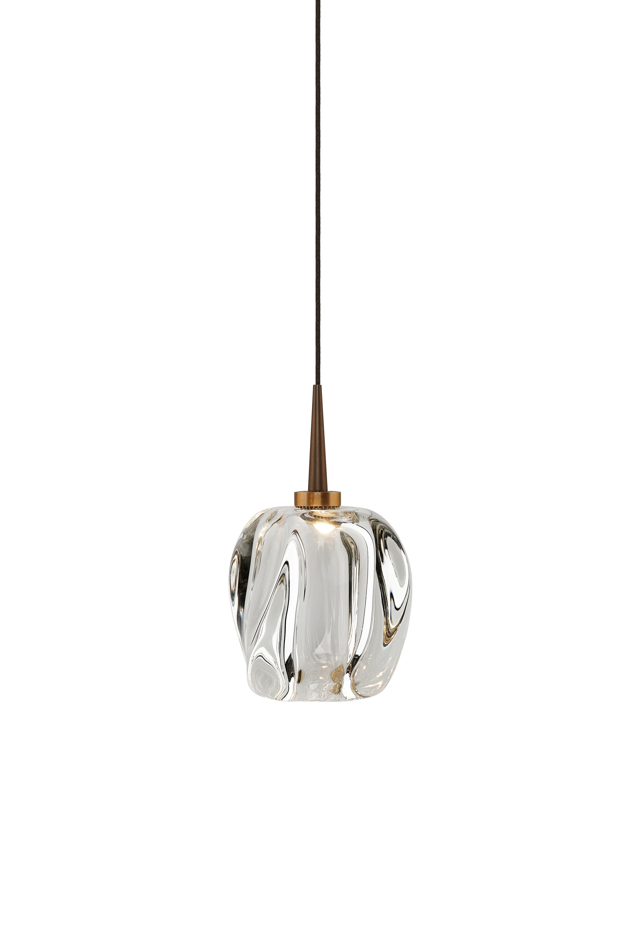 Aurora 1-Light Globe Pendant Shade Color: Clear, Color: Bronze
